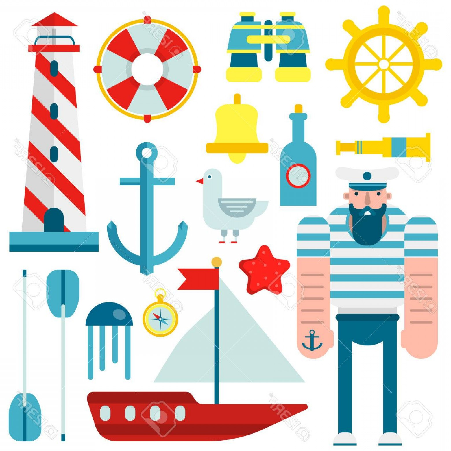 Old Lifesaver Stripe Vectors: Photostock Vector Marine And Nautical Vector Flat Icons Isolated Symbols Of Sailor Captain Ship Sailboat Anchor And He