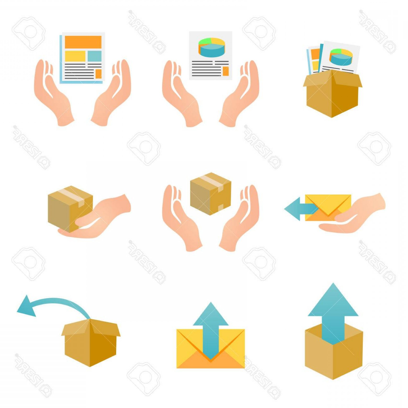 Vector Marketing Corporation Contact: Photostock Vector Marketing Company Digital Products Icons With Collateral And Packing Boxes