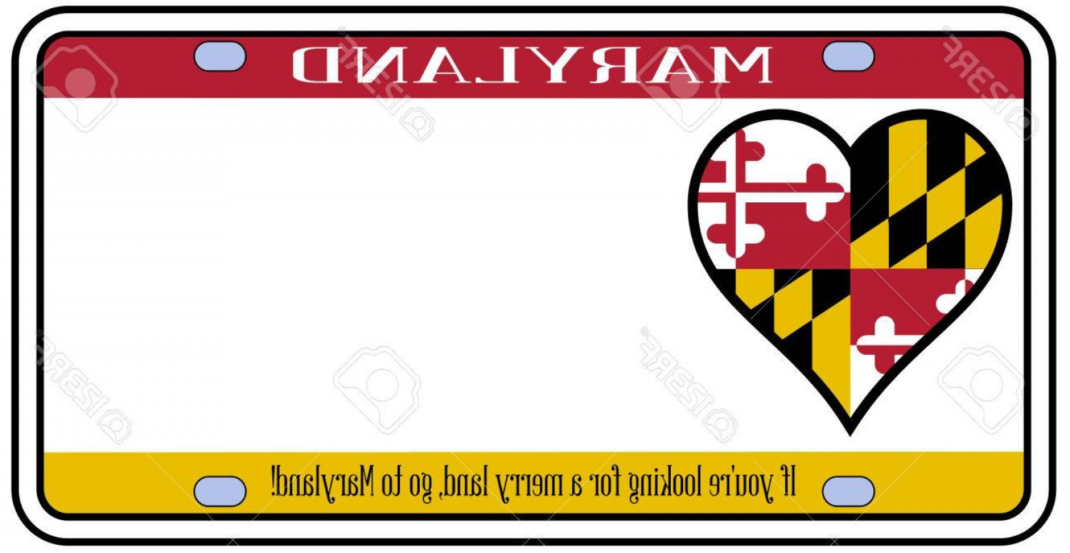 Florida License Plate Vector Art: Photostock Vector Maryland State License Plate In The Colors Of The State Flag With The Flag Icons Over A White Backgr