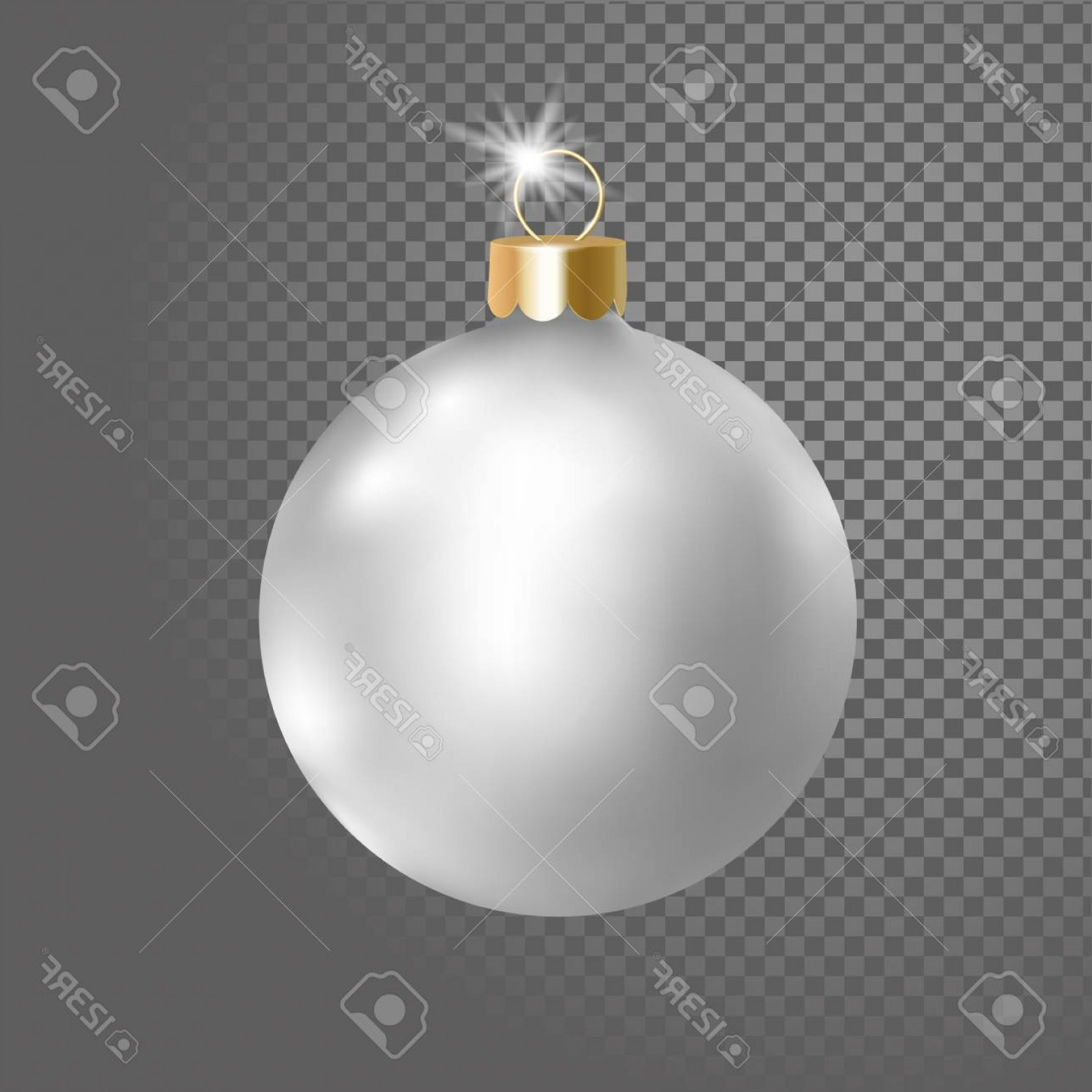 3 Glass Christmas Bulb Vector: Photostock Vector Matted White Silver Christmas Ball Tree Decoration D Realistic Isolated On Transparent Background D