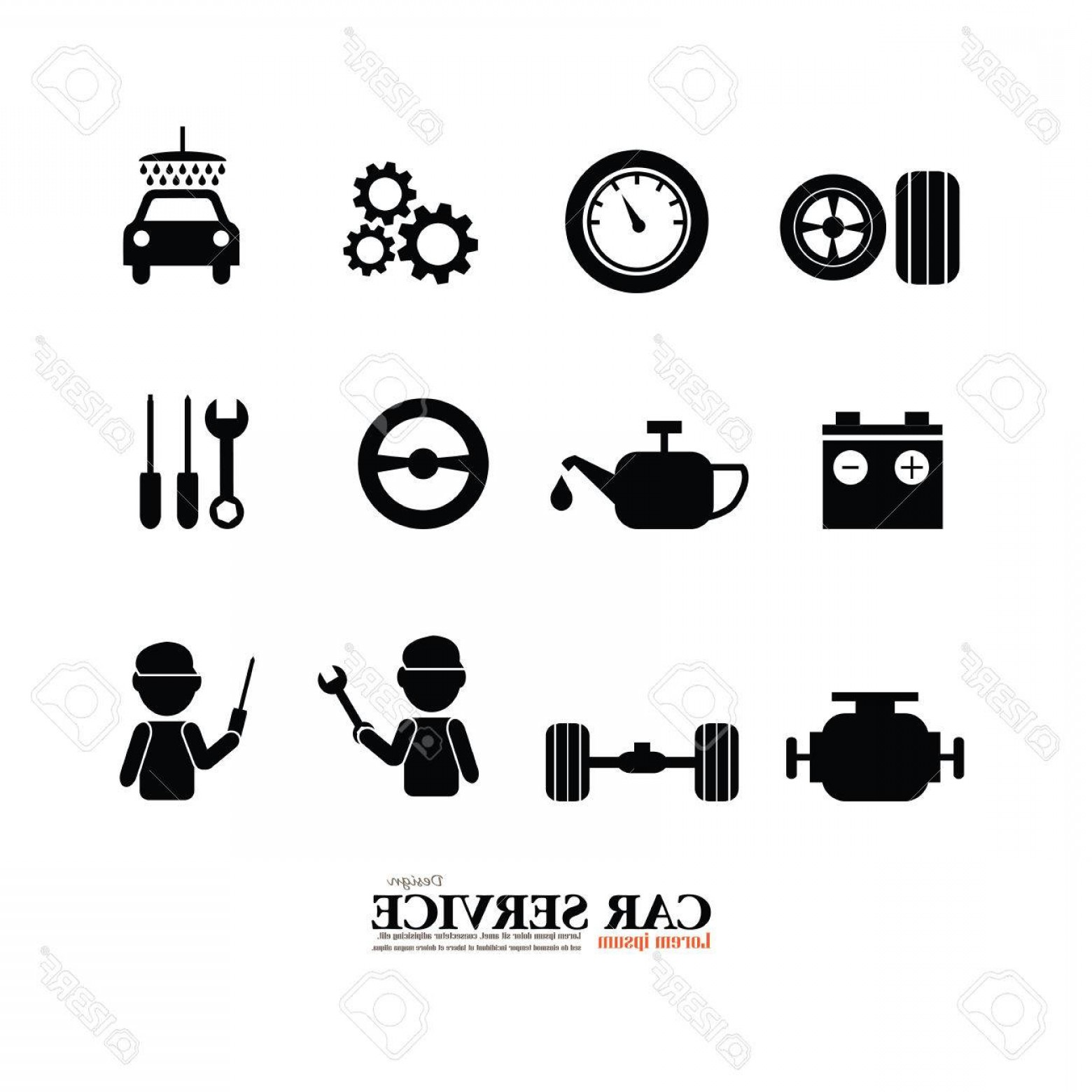 Auto Mobile Vector Art: Photostock Vector Mechanic And Car Maintenance Service Icons Automobile Check Up Repair Car Service Icon Vector Illust