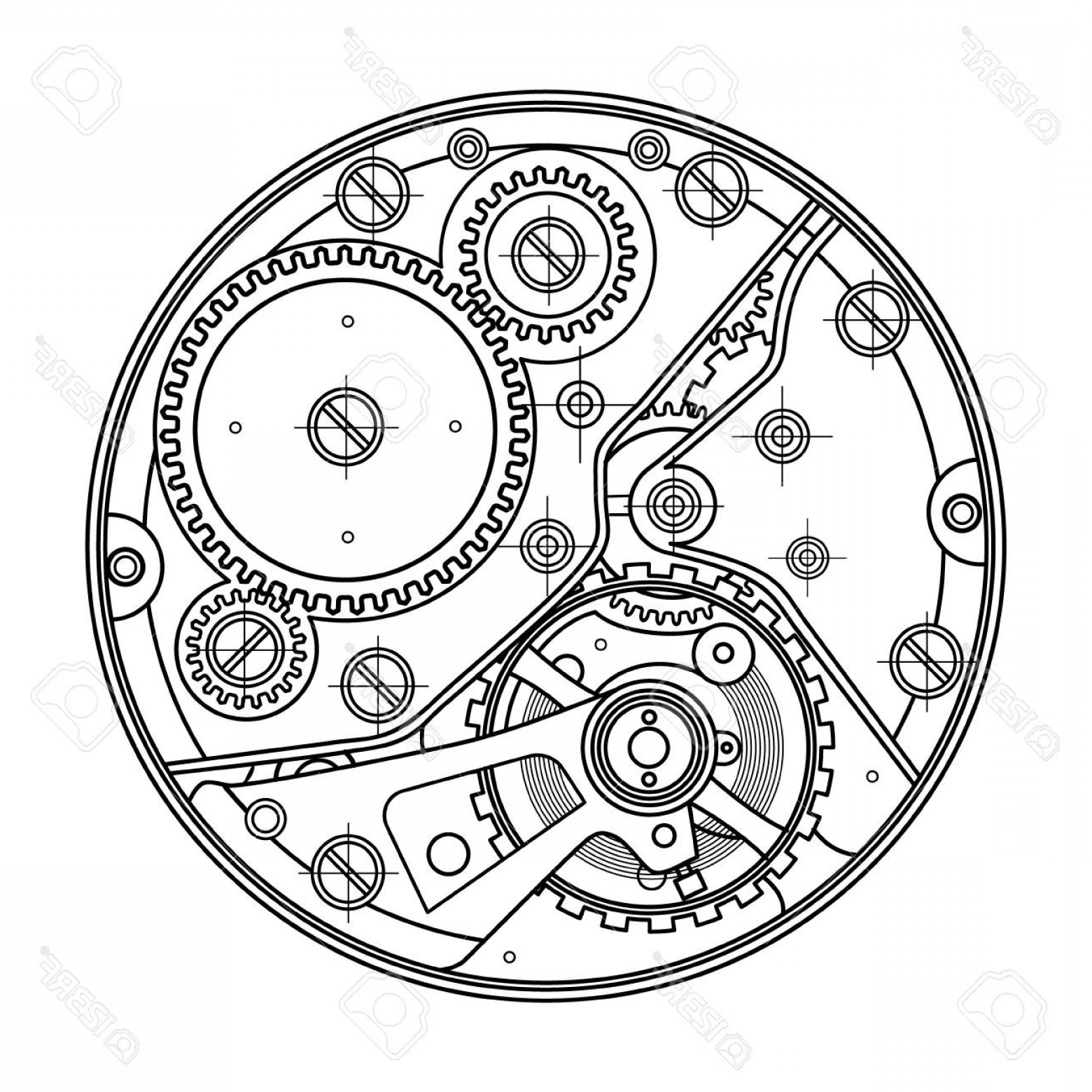 Watch Gears Vector: Photostock Vector Mechanical Watches With Gears Drawing Of The Internal Device It Can Be Used As An Example Of Harmoni