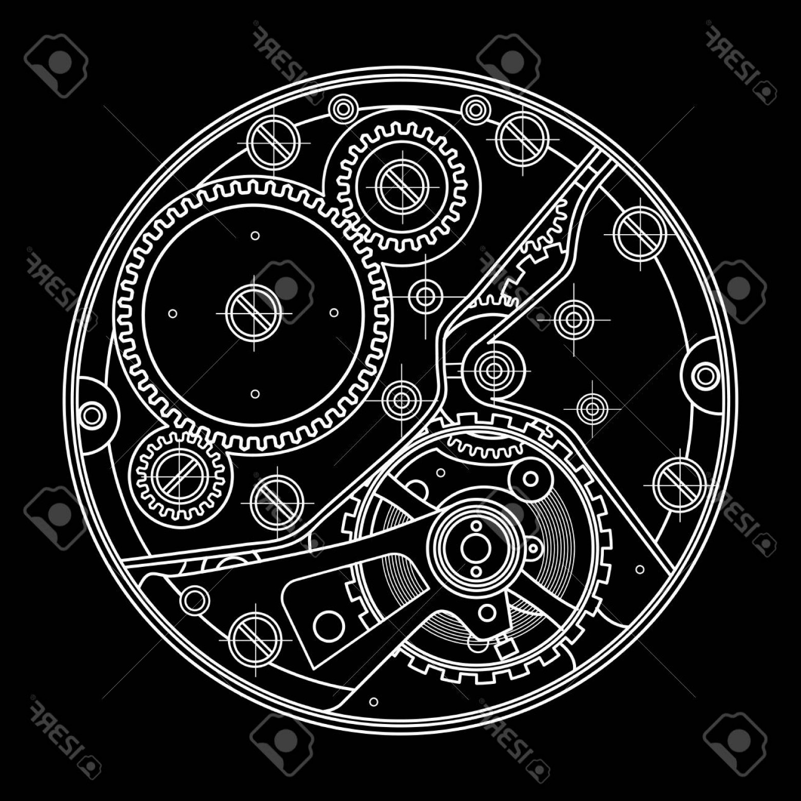Watch Gears Vector: Photostock Vector Mechanical Watches With Gears Drawing Of The Internal Device