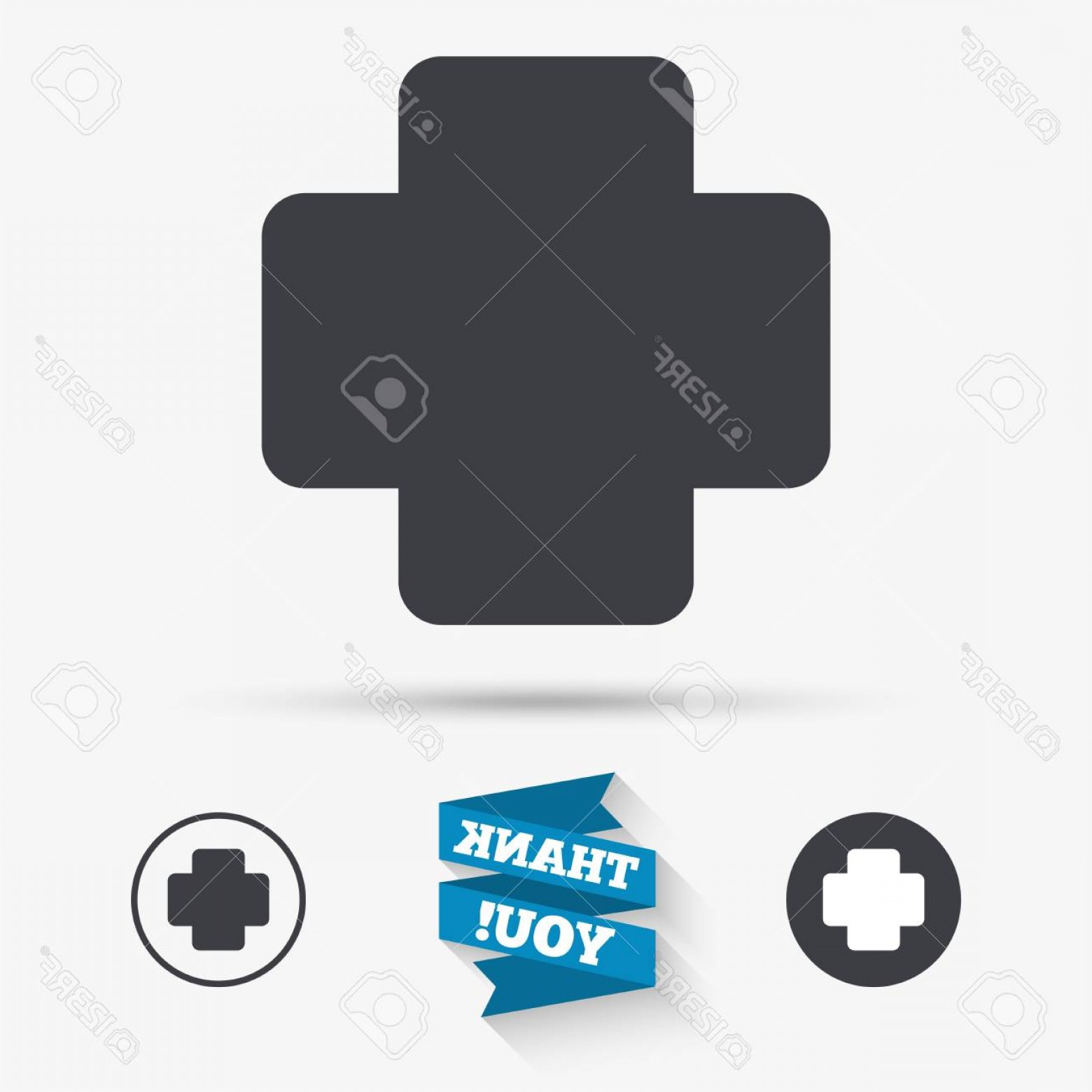 Cross And Ribbon Vector: Photostock Vector Medical Cross Sign Icon Diagnostics Symbol Flat Icons Buttons With Icons Thank You Ribbon Vector