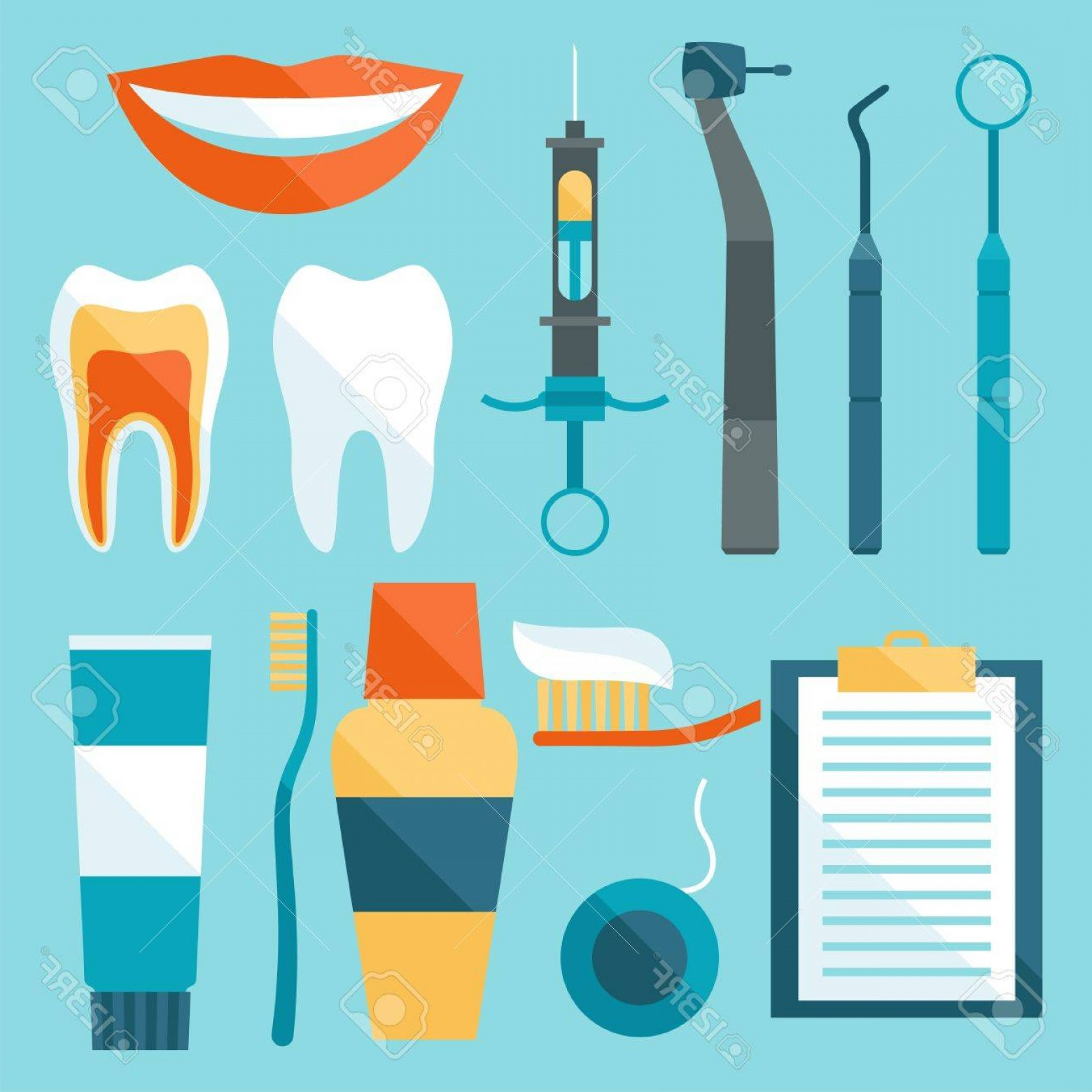 Vector Dental Equipment: Photostock Vector Medical Dental Equipment Icons Set In Flat Style