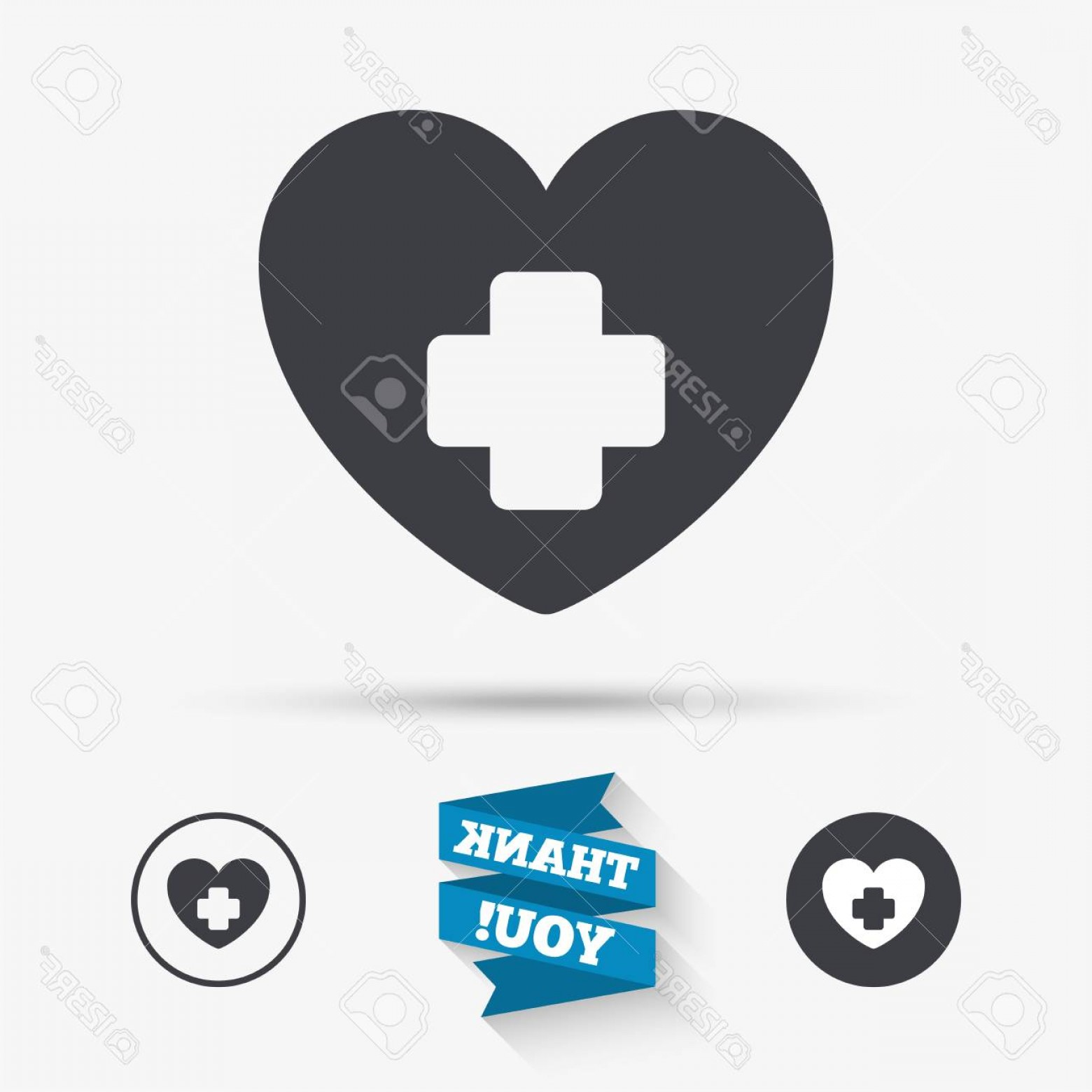 Cross And Ribbon Vector: Photostock Vector Medical Heart Sign Icon Cross Symbol Flat Icons Buttons With Icons Thank You Ribbon Vector