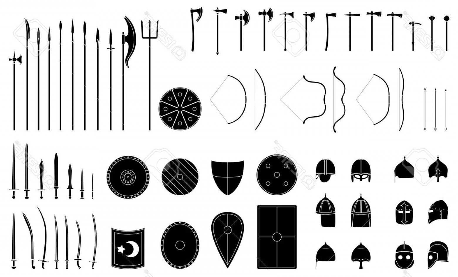 Pike Spear Vector: Photostock Vector Medieval Weapons And Armors Set Medieval Warrior Equipment Sword Sabre Dagger Axe Male Spear Pike Bo