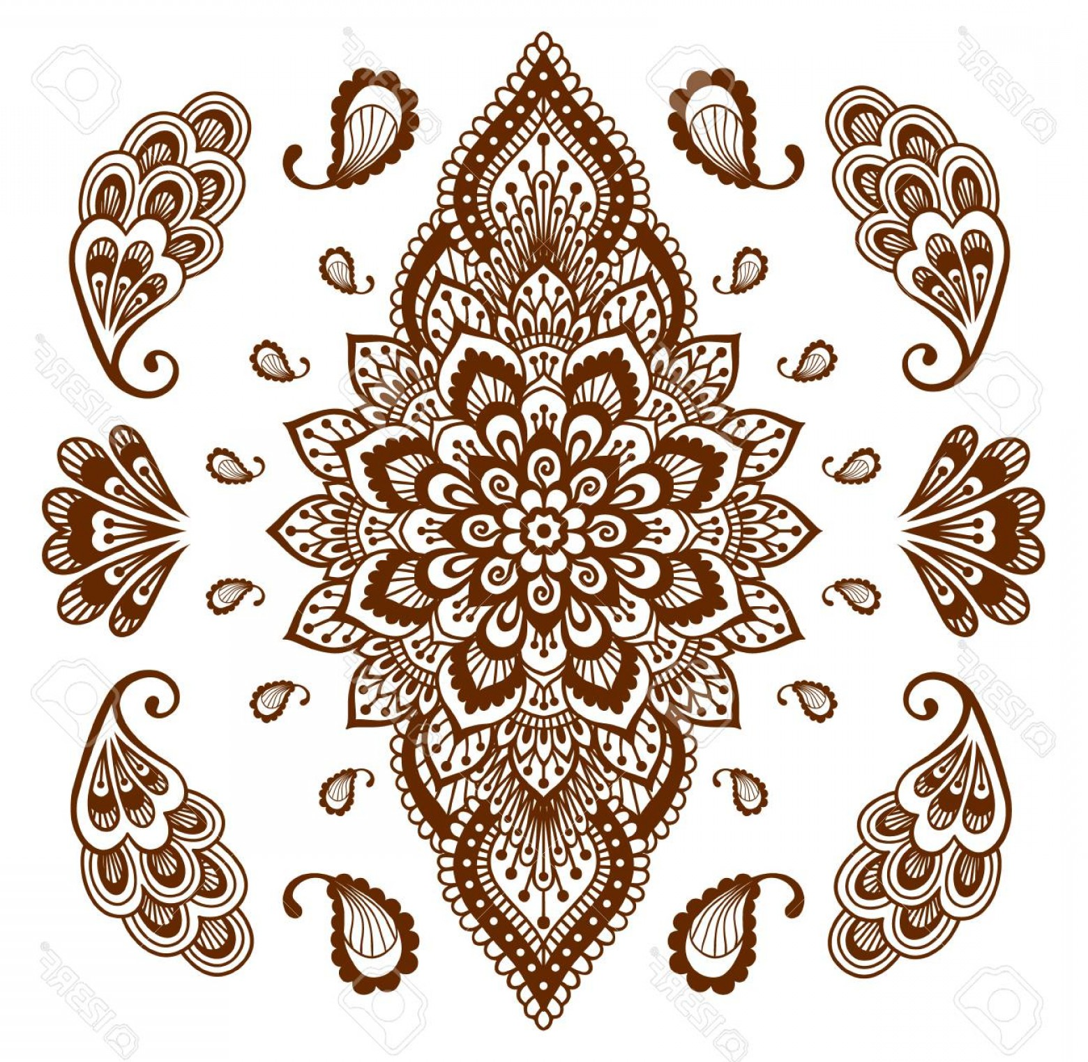 Vector Ornament Sets: Photostock Vector Mehendi Ornament Collection Indian Henna Tattoo Set Oriental Style Hand Drawn Decorative Design Temp