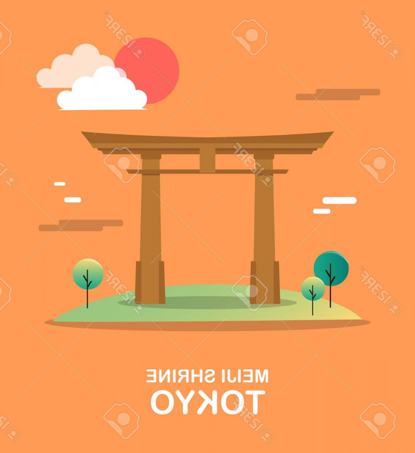 Vector Holy Shrine: Photostock Vector Meiji Shrine Holy Building In Tokyo Illustration Design
