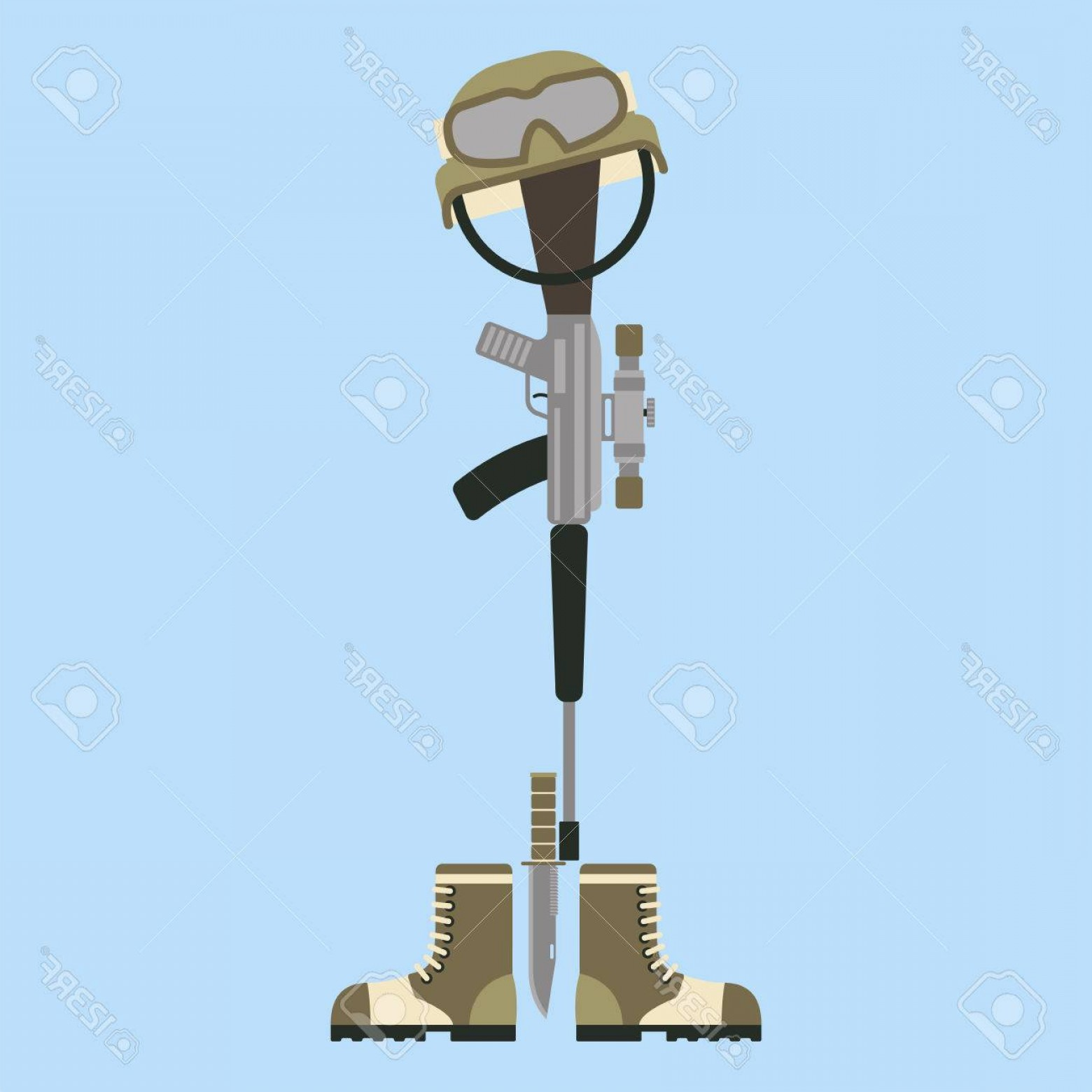 Vector Rifle And Boots: Photostock Vector Memorial Battlefield Cross American Honor Symbol Of A Fallen Us Soldier Modern War Rifle M With Bo