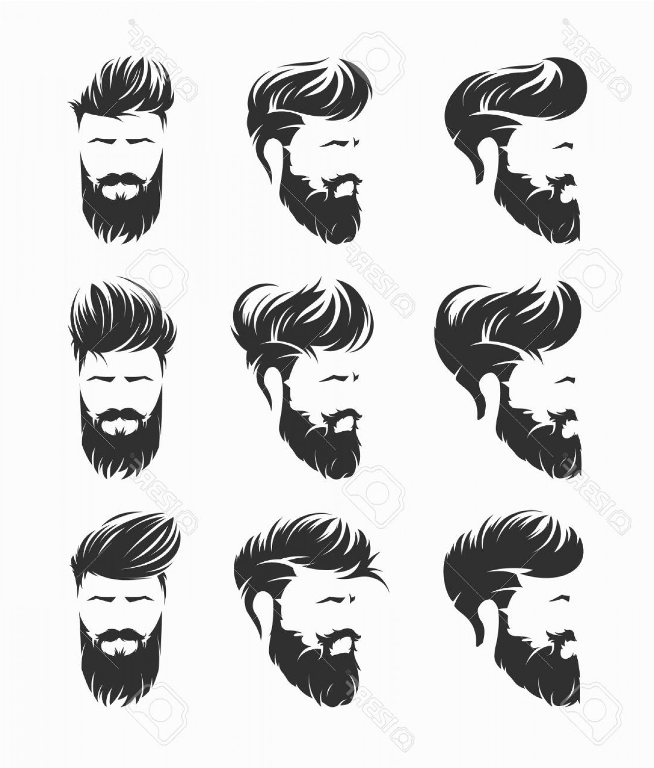 Short Men's Hair Vector: Photostock Vector Mens Hairstyles Vector Set
