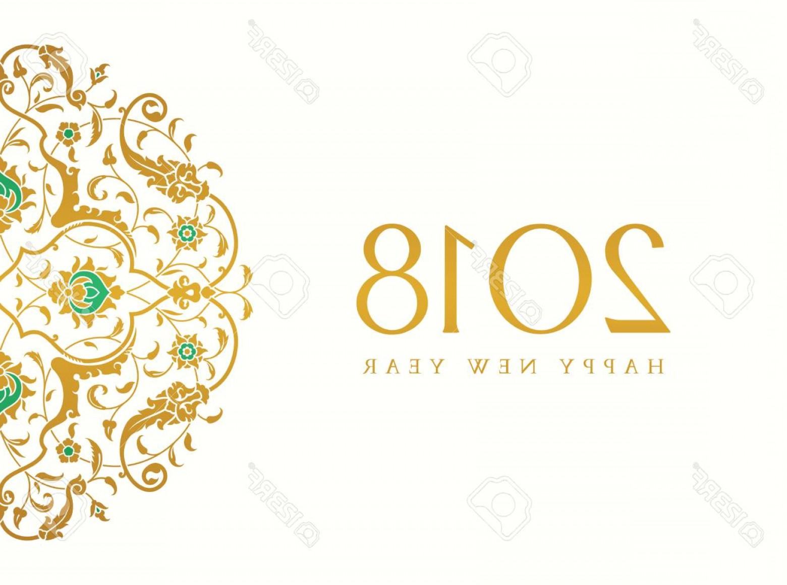 Vector-Based Christmas: Photostock Vector Merry Christmas And Happy New Year Art Based On Traditional Orient Floral Pattern Use For Banne
