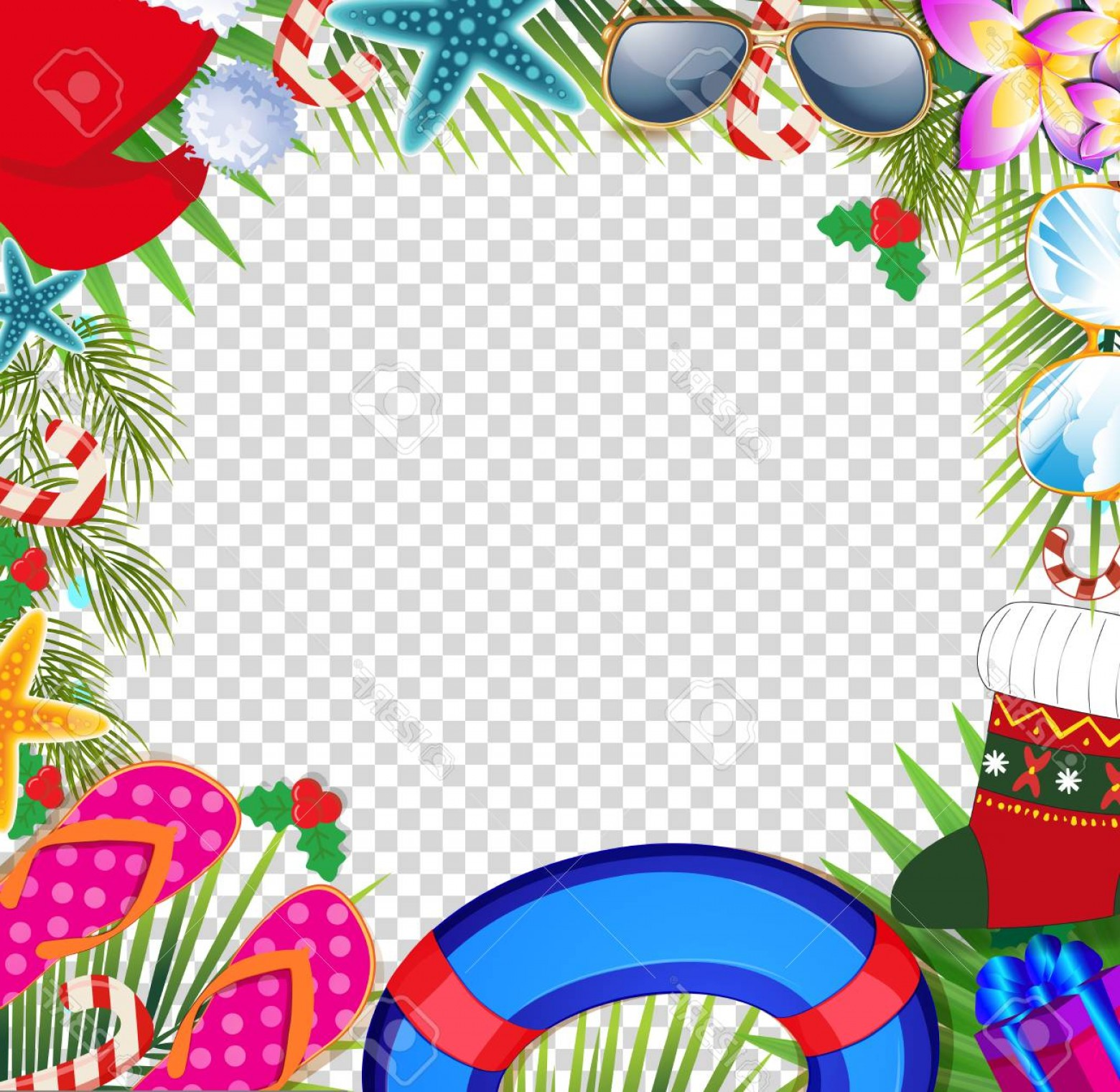 Summer Transparent Vector: Photostock Vector Merry Christmas And Happy New Year Border In A Warm Climate Design Style Summer Vacation Accessories