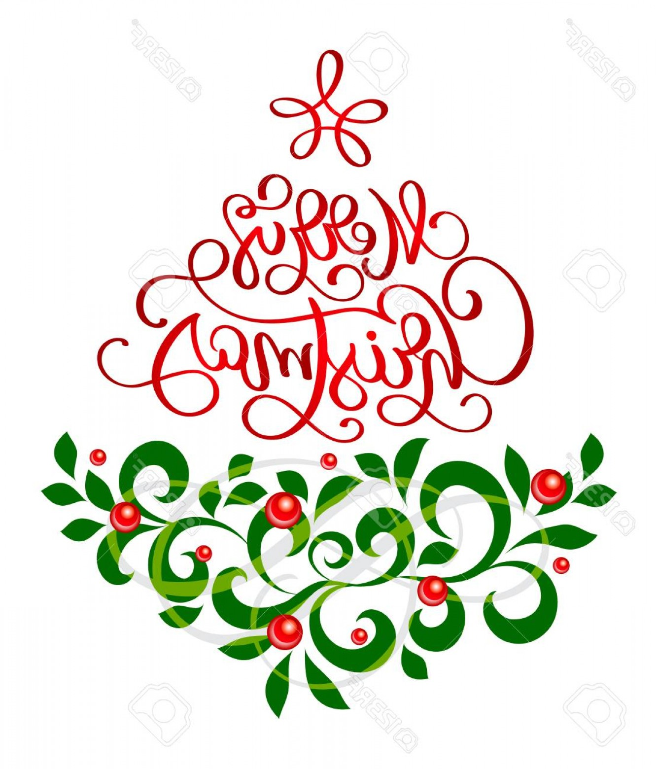 Vector Flourish Christmas: Photostock Vector Merry Christmas Text Lettering Calligraphic With A Vintage Flourish Design Element In The Form Of A