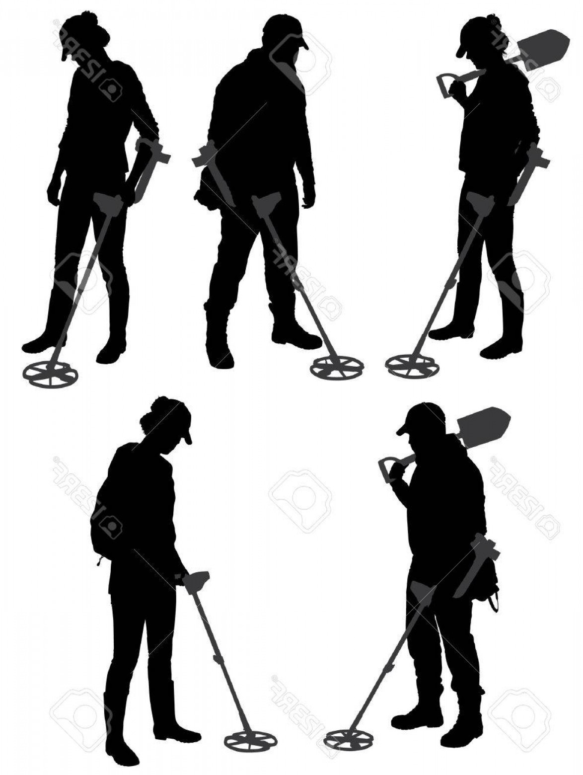 Vector Metal Detector: Photostock Vector Metal Detecting Silhouette On White Background