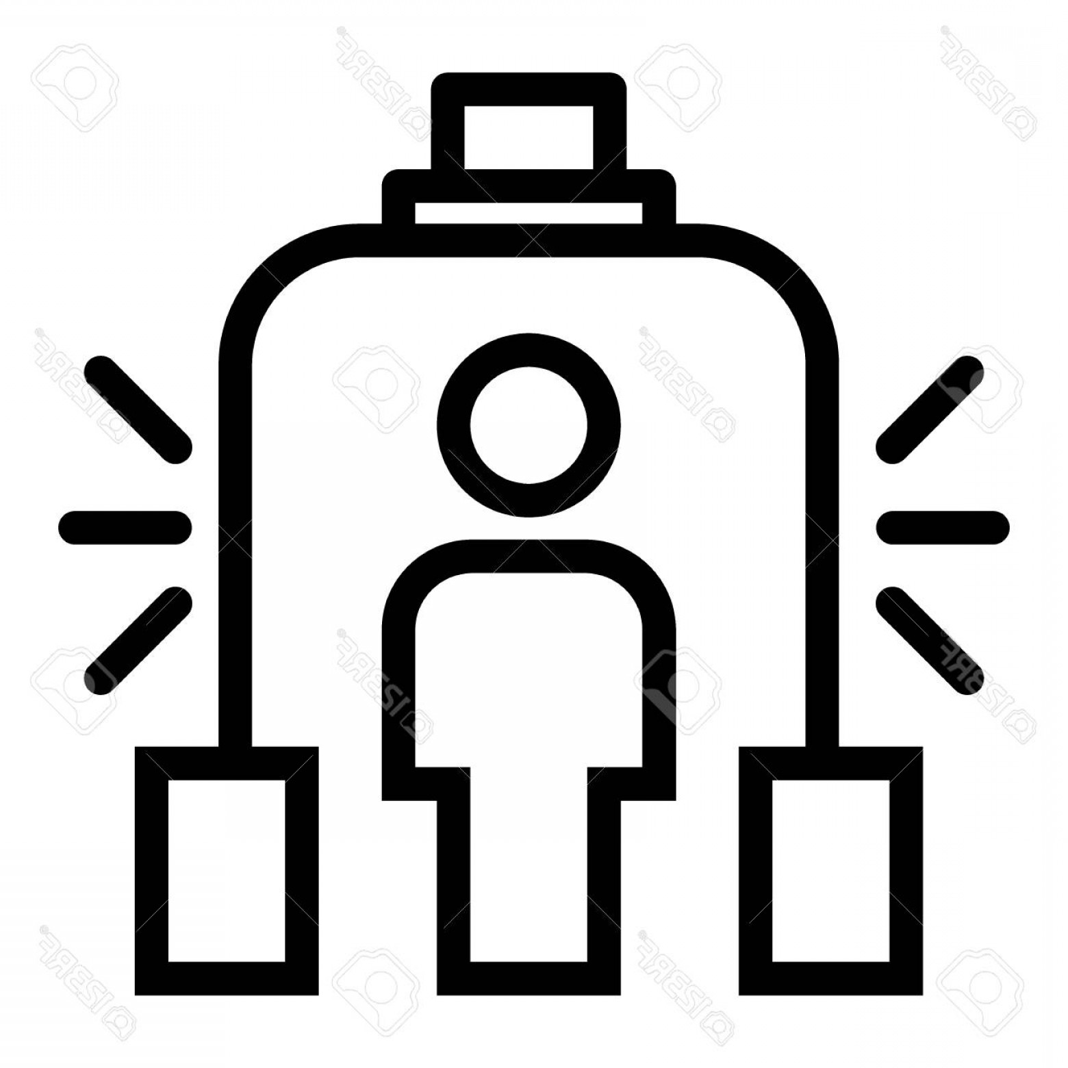 Vector Metal Detector: Photostock Vector Metal Detector Line Icon Scanner Vector Illustration Isolated On White Airport Security Outline Styl
