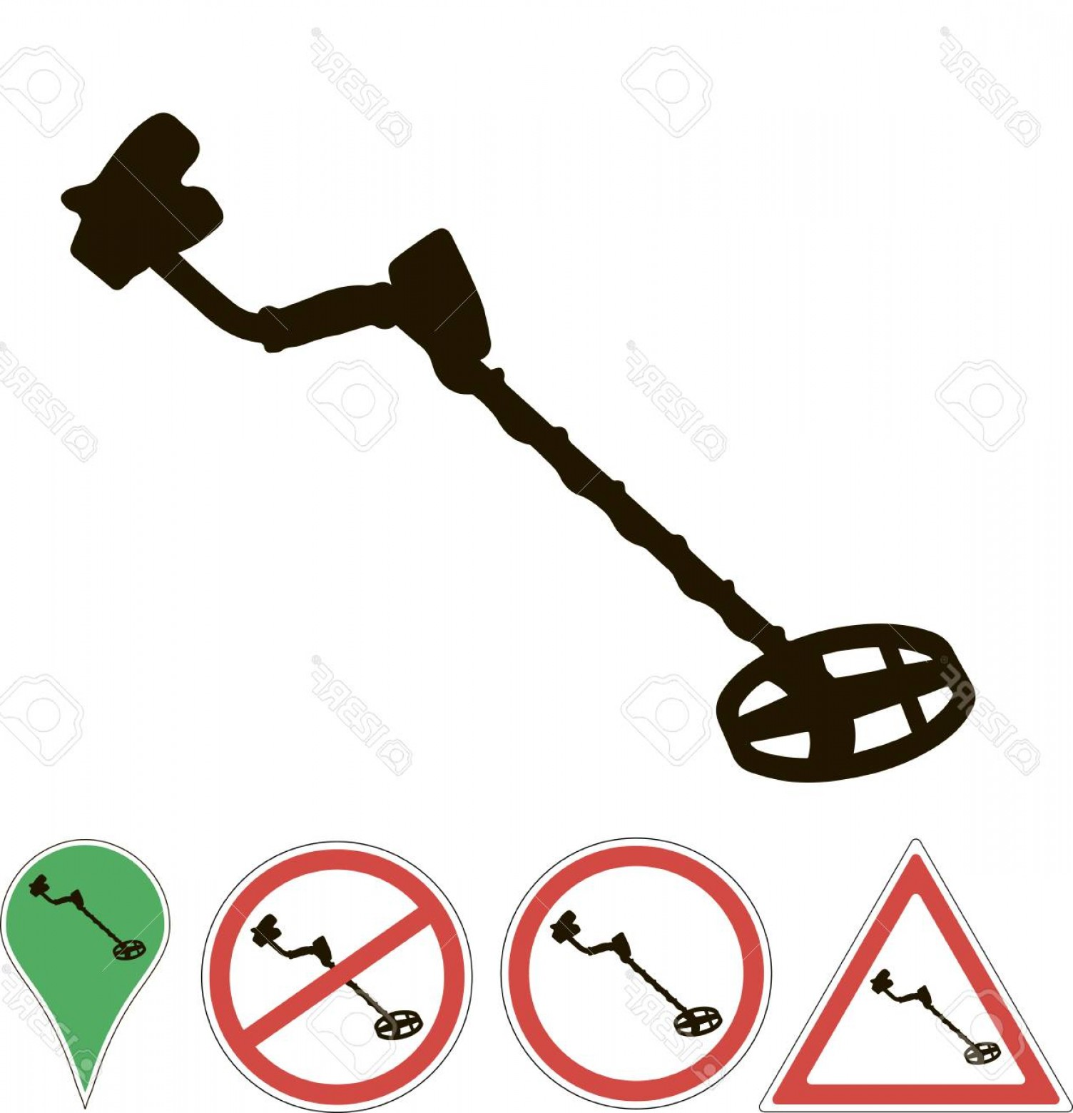 Vector Metal Detector: Photostock Vector Metal Detector Sign On A White