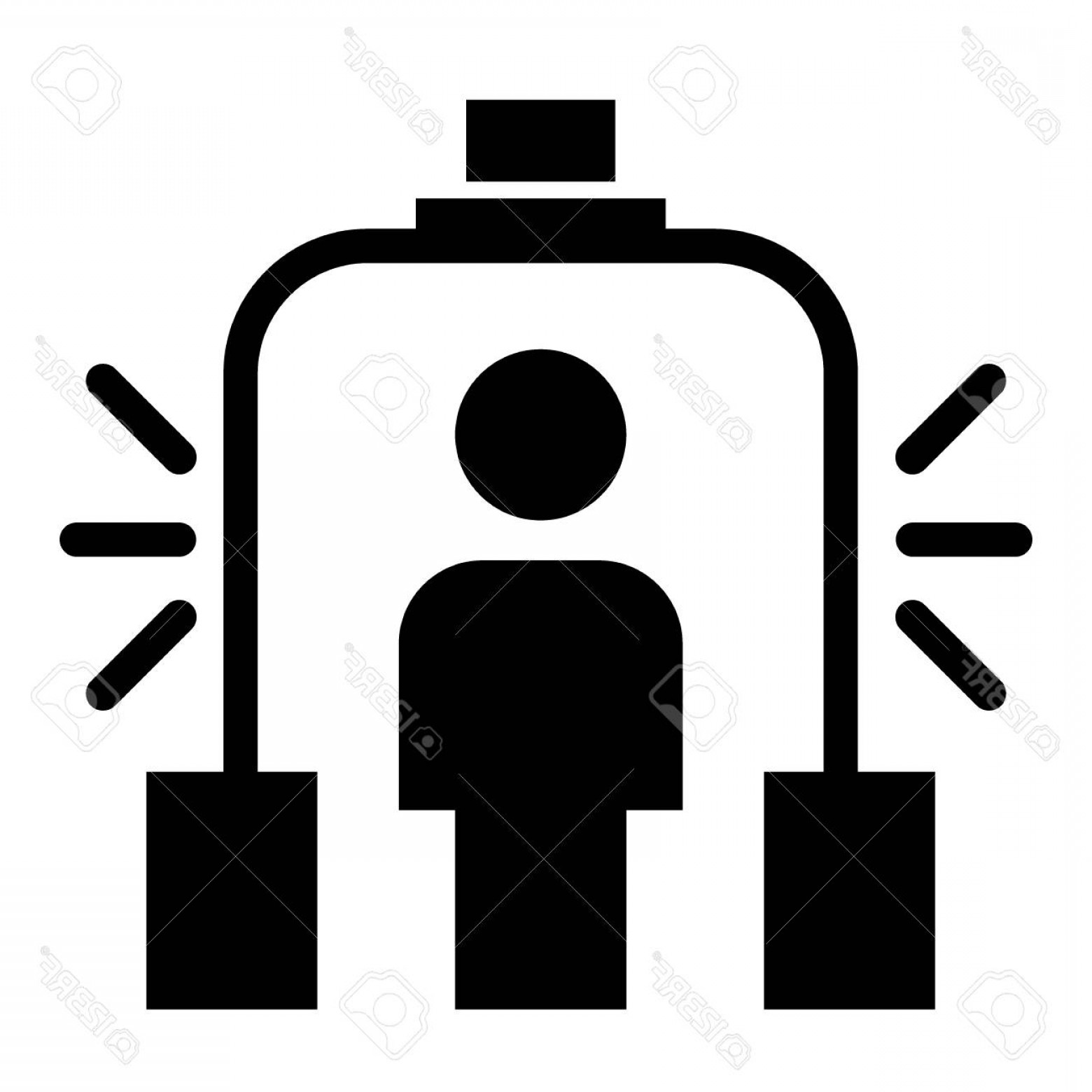 Vector Metal Detector: Photostock Vector Metal Detector Solid Icon Scanner Vector Illustration Isolated On White Airport Security Glyph Style