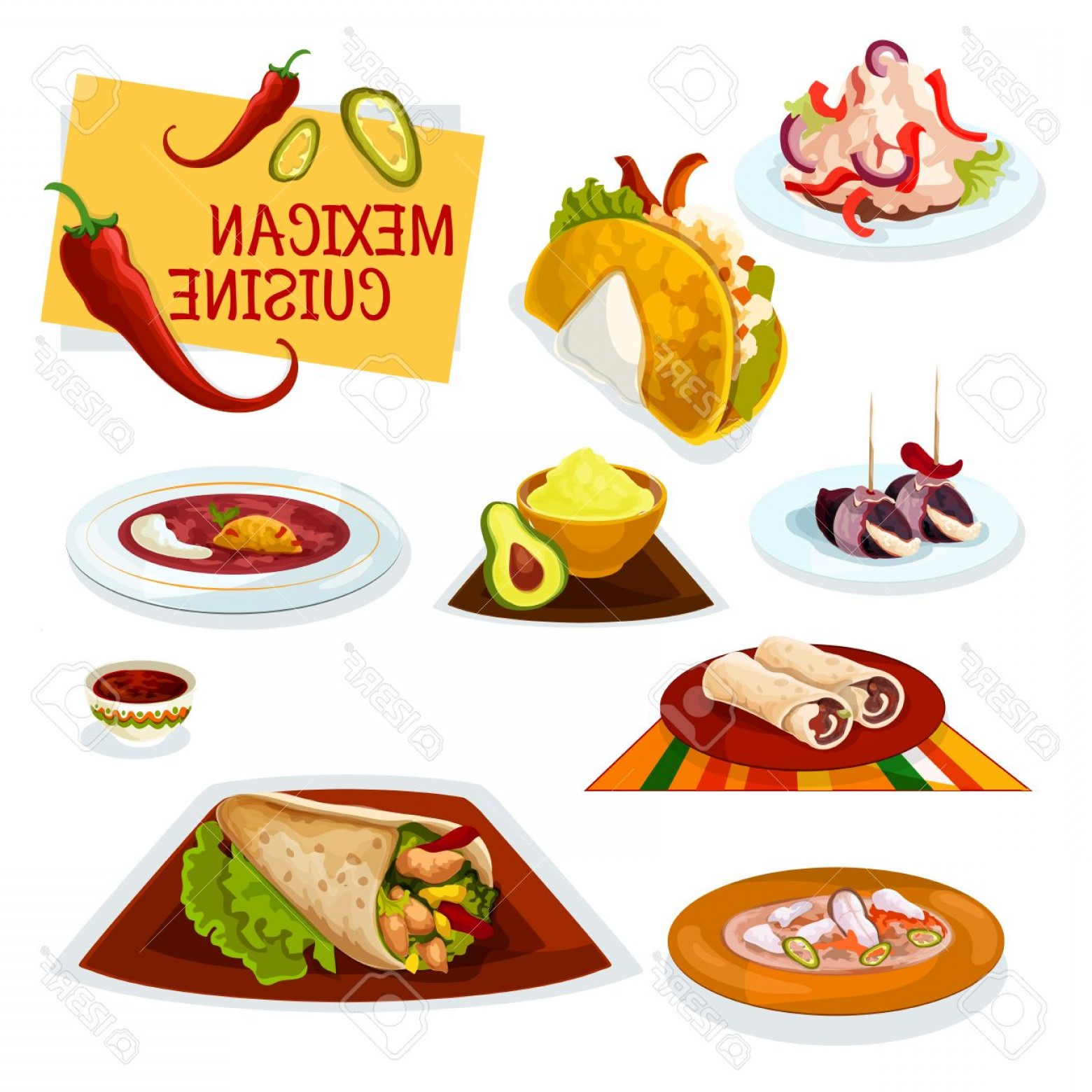 Steak Taco Vector Art: Photostock Vector Mexican Cuisine Cartoon Icon With Taco Burrito And Beef Tortilla Roll Bacon Tapas Avocado Guacamole