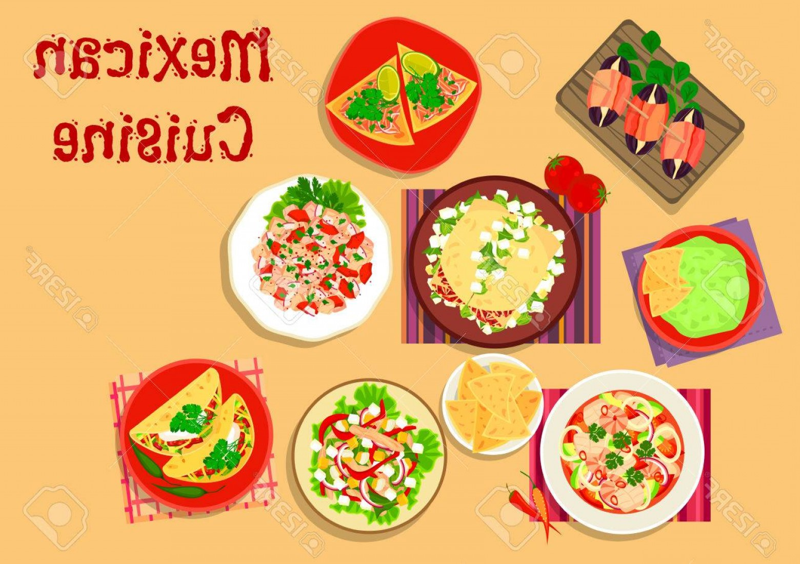 Steak Taco Vector Art: Photostock Vector Mexican Cuisine Spicy Salad And Snack Icon With Guacamole With Nacho Beef Tortilla Chorizo Salad Tac