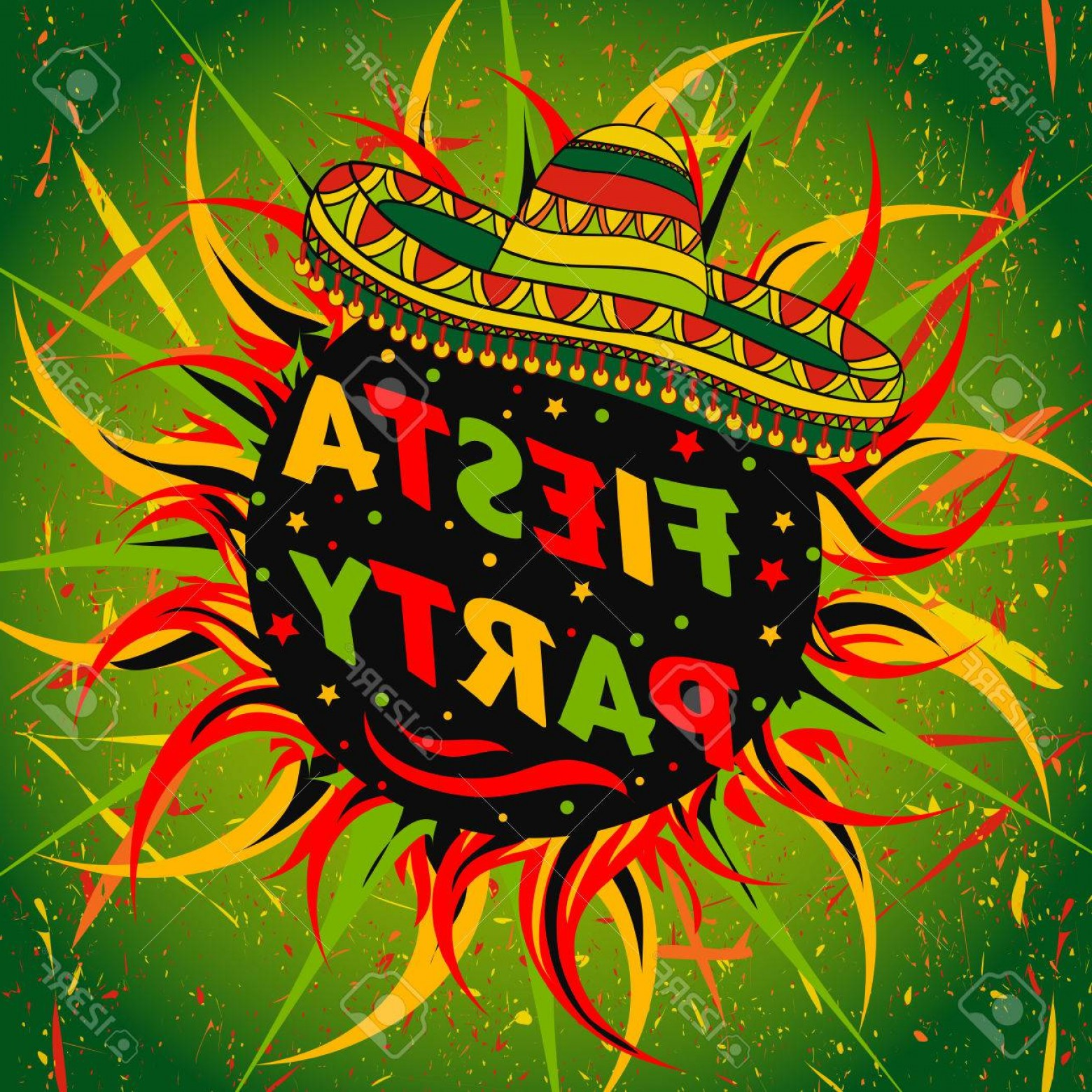 Fiesta Mexico Vector: Photostock Vector Mexican Fiesta Party Label With Sombrero And Confetti Hand Drawn Illustration Poster With Grunge Bac