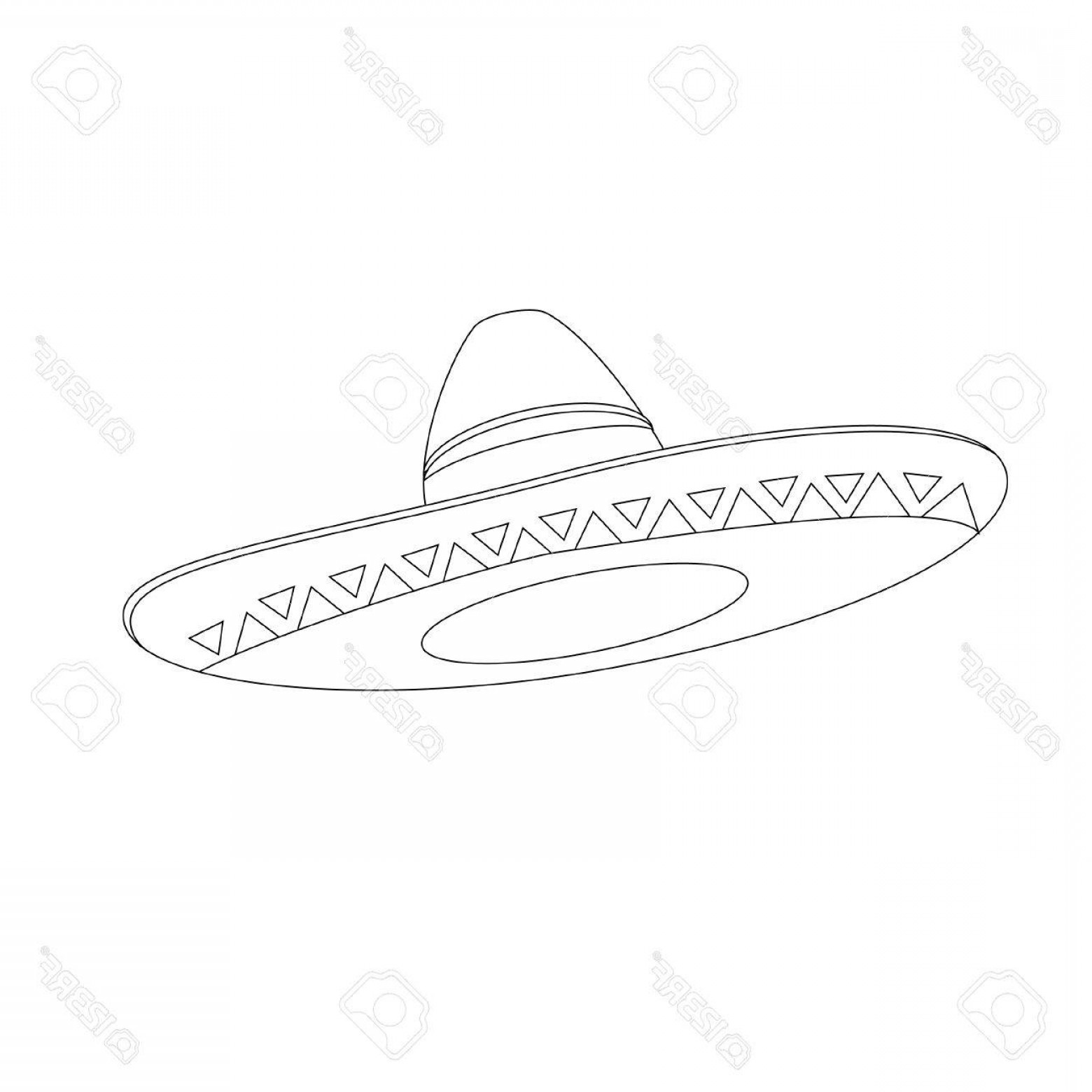 Sombrero Vector Outline: Photostock Vector Mexican Hat Outline Drawings Vector Isolated Mexican Sombrero Traditional Mexican