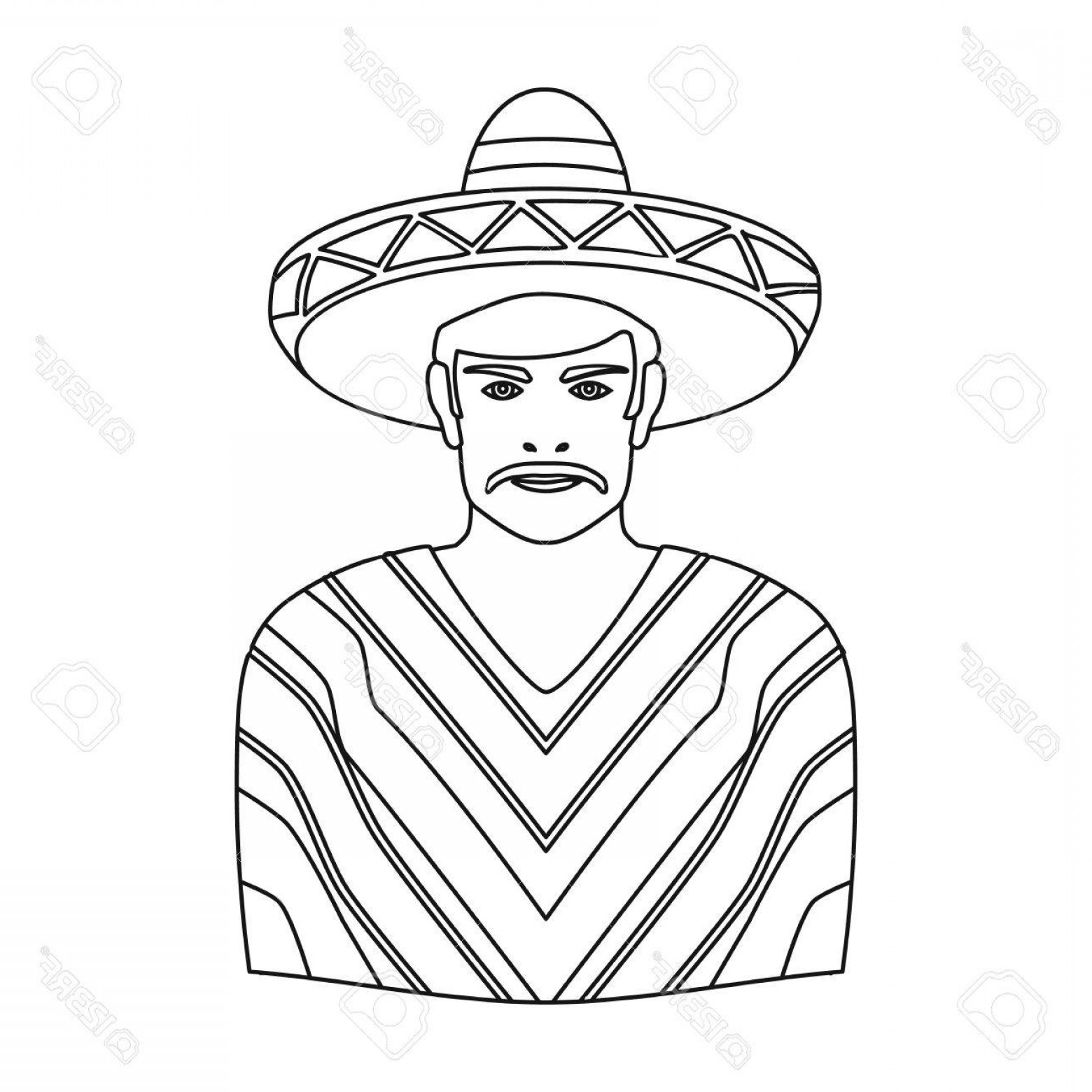 Sombrero Vector Outline: Photostock Vector Mexican Man In Sombrero And Poncho Icon In Outline Style Isolated On White Background Mexico Country