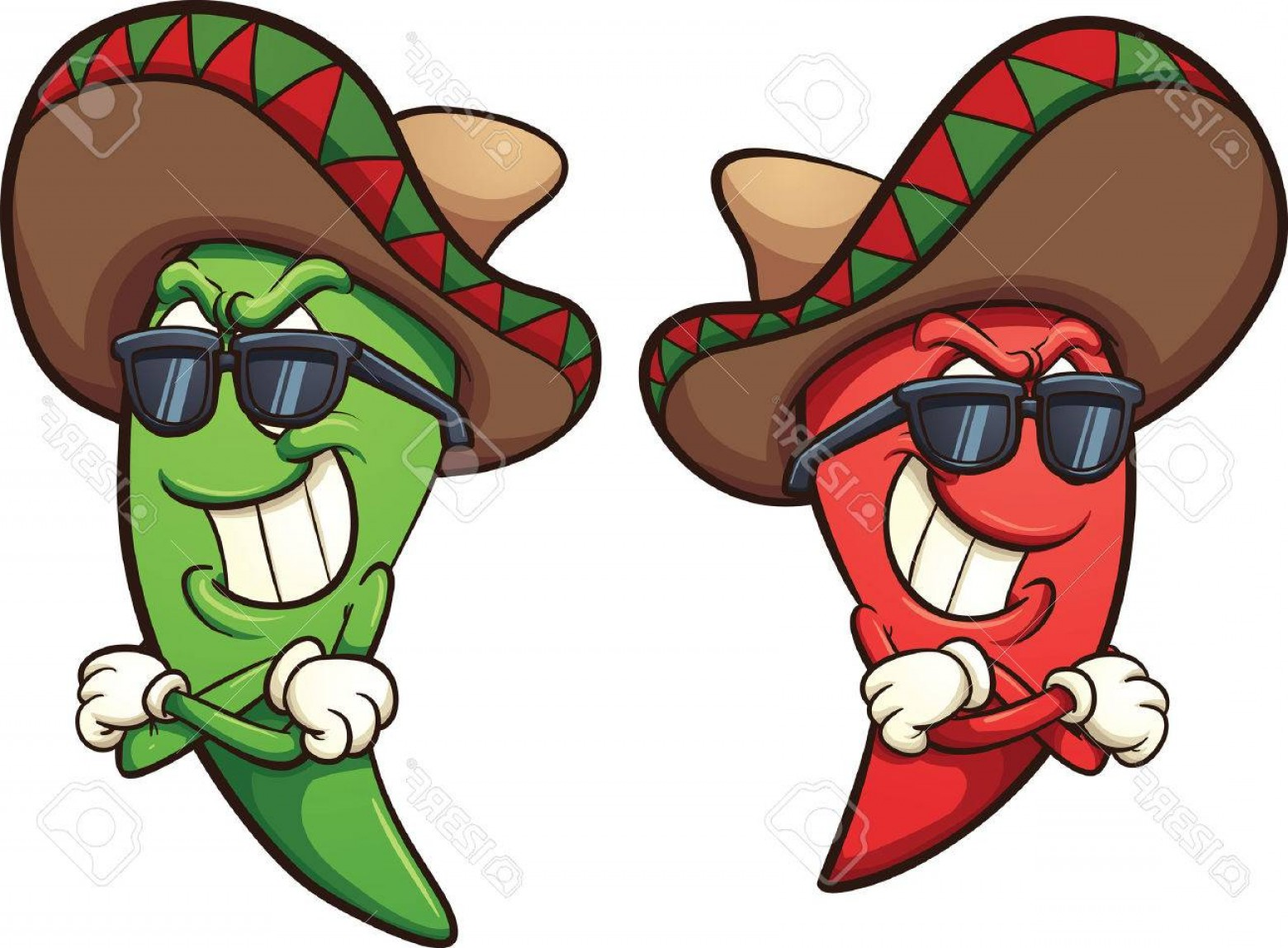 Vector Mexican Chili: Photostock Vector Mexican Red And Green Chili Peppers Vector Clip Art Illustration With Simple Gradients Shades And Pe