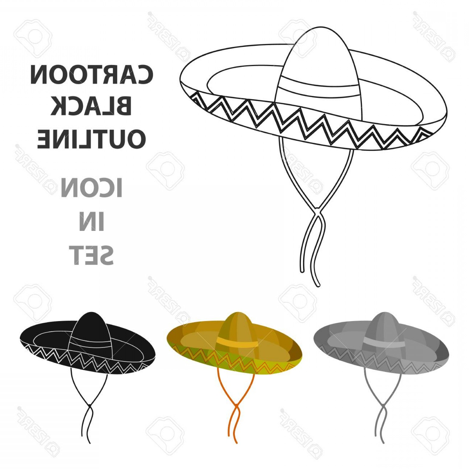 Sombrero Vector Outline: Photostock Vector Mexican Sombrero Icon In Cartoon Style Isolated On White Background Mexico Country Symbol Stock Vect