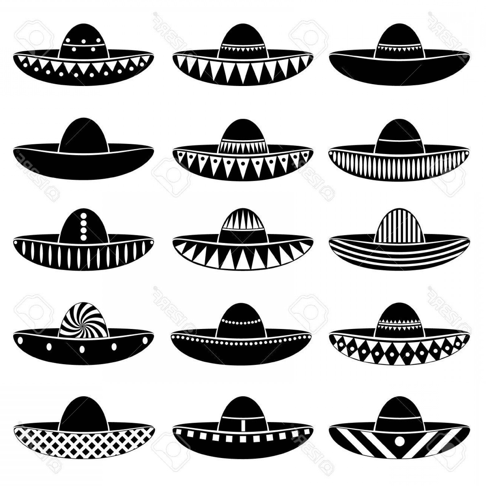 Sombrero Hat Vector: Photostock Vector Mexico Sombrero Hat Variations Icons Set