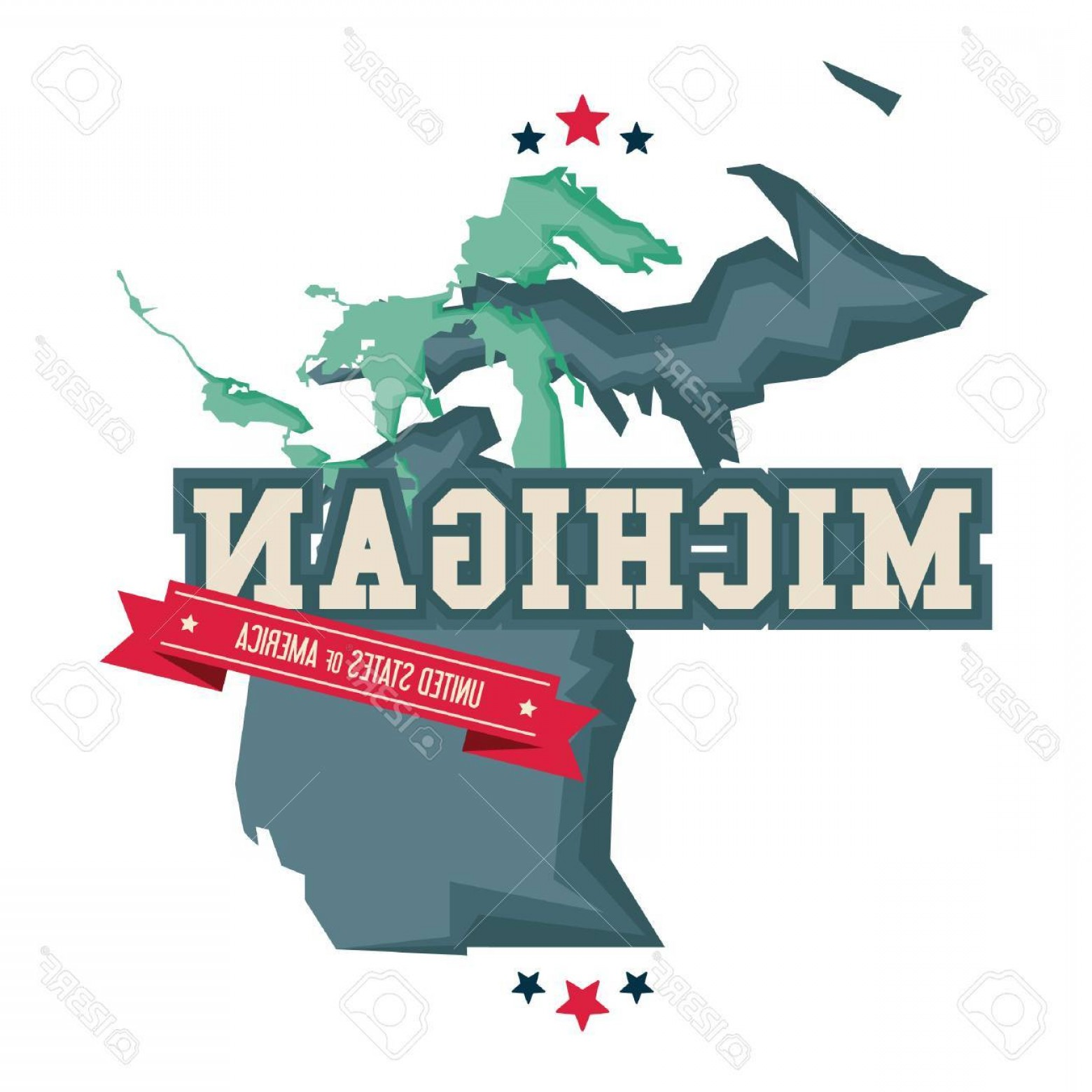 Michigan Vector Artwork: Photostock Vector Michigan Map With The Great Lakes