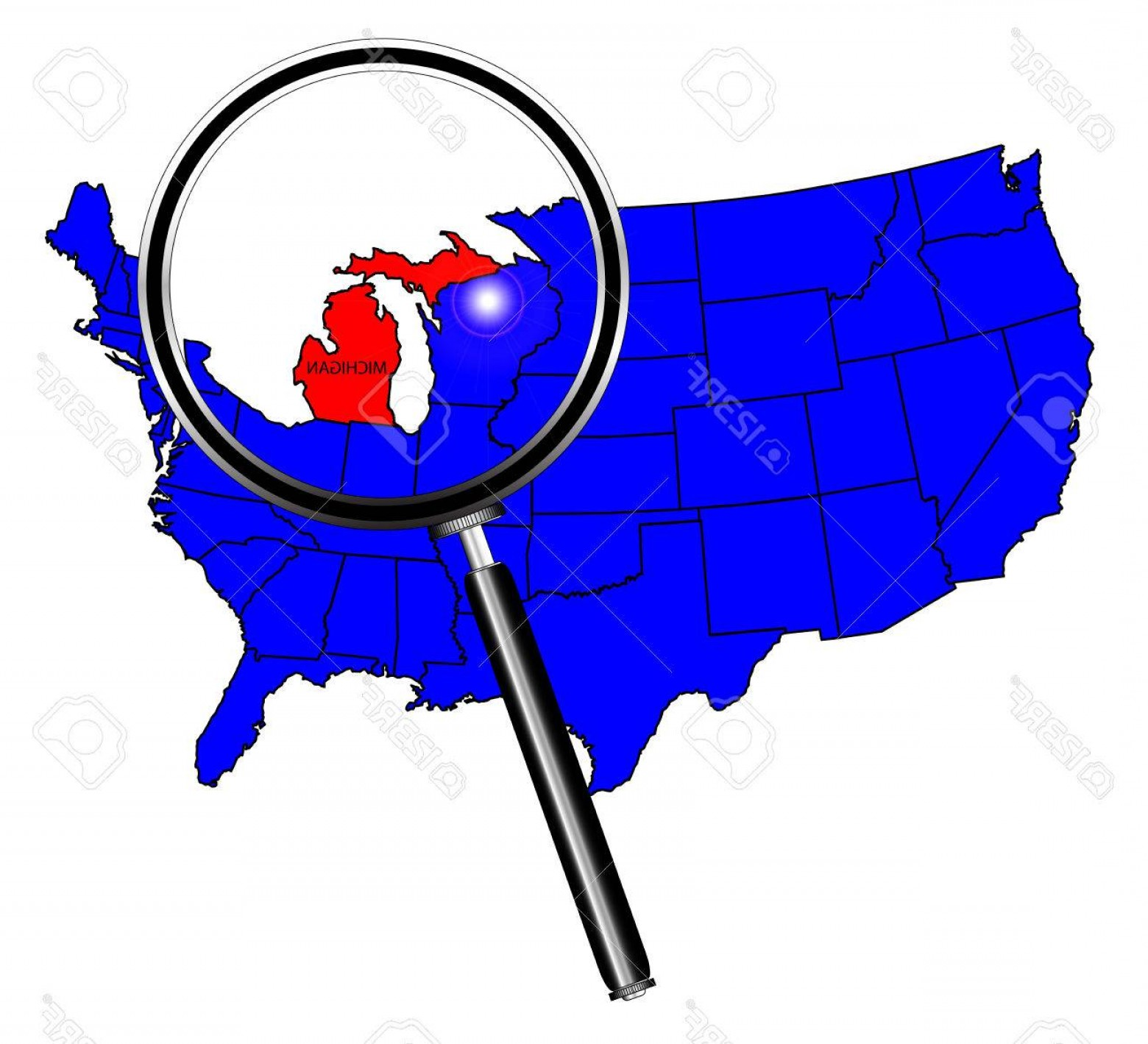 Michigan Vector Artwork: Photostock Vector Michigan State Outline Set Into A Map Of The United States Of America Below A Magnifying Glass