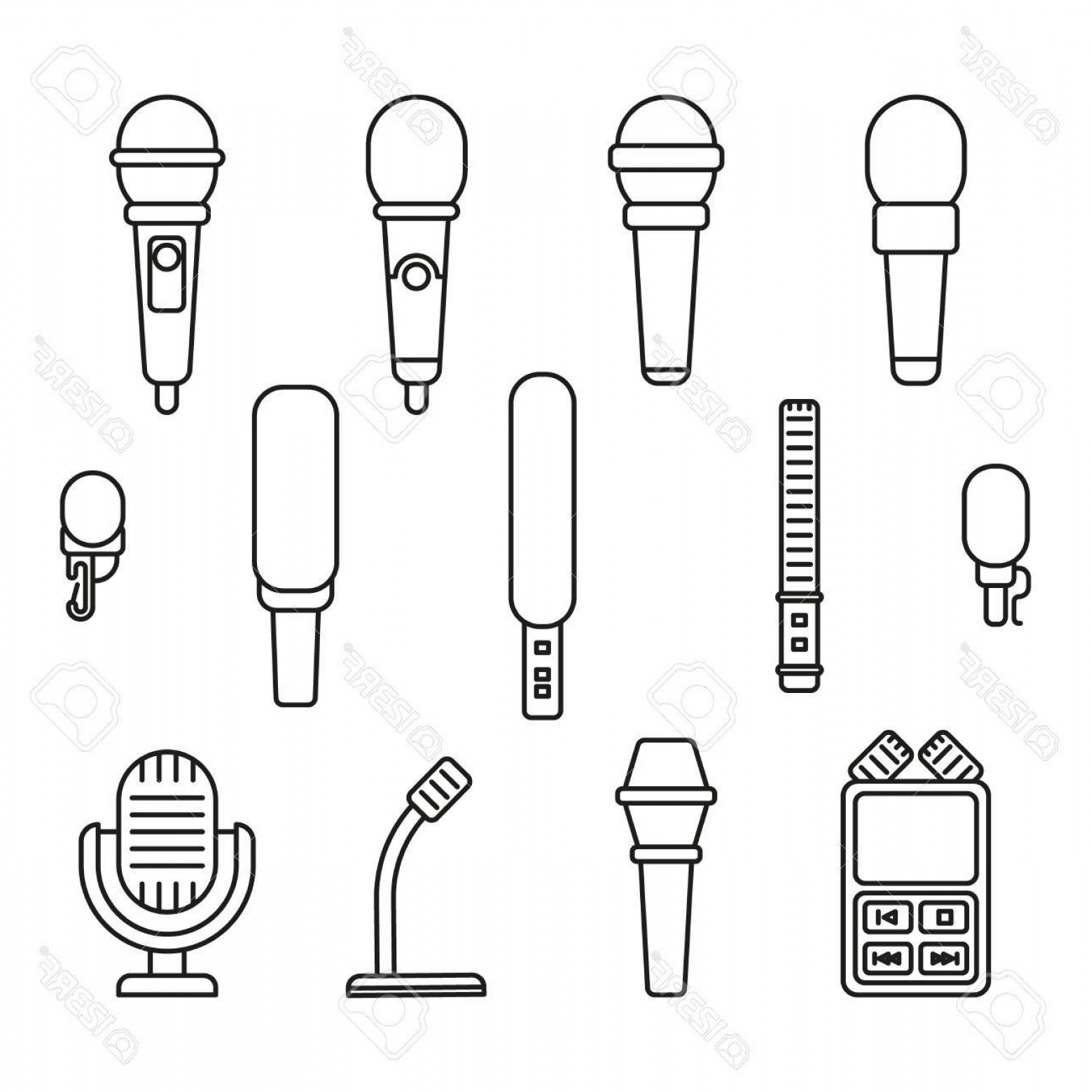 Microphone Recording Vector: Photostock Vector Microphonesline Icons Mic And Audio Recording Vector Outline Signs Set