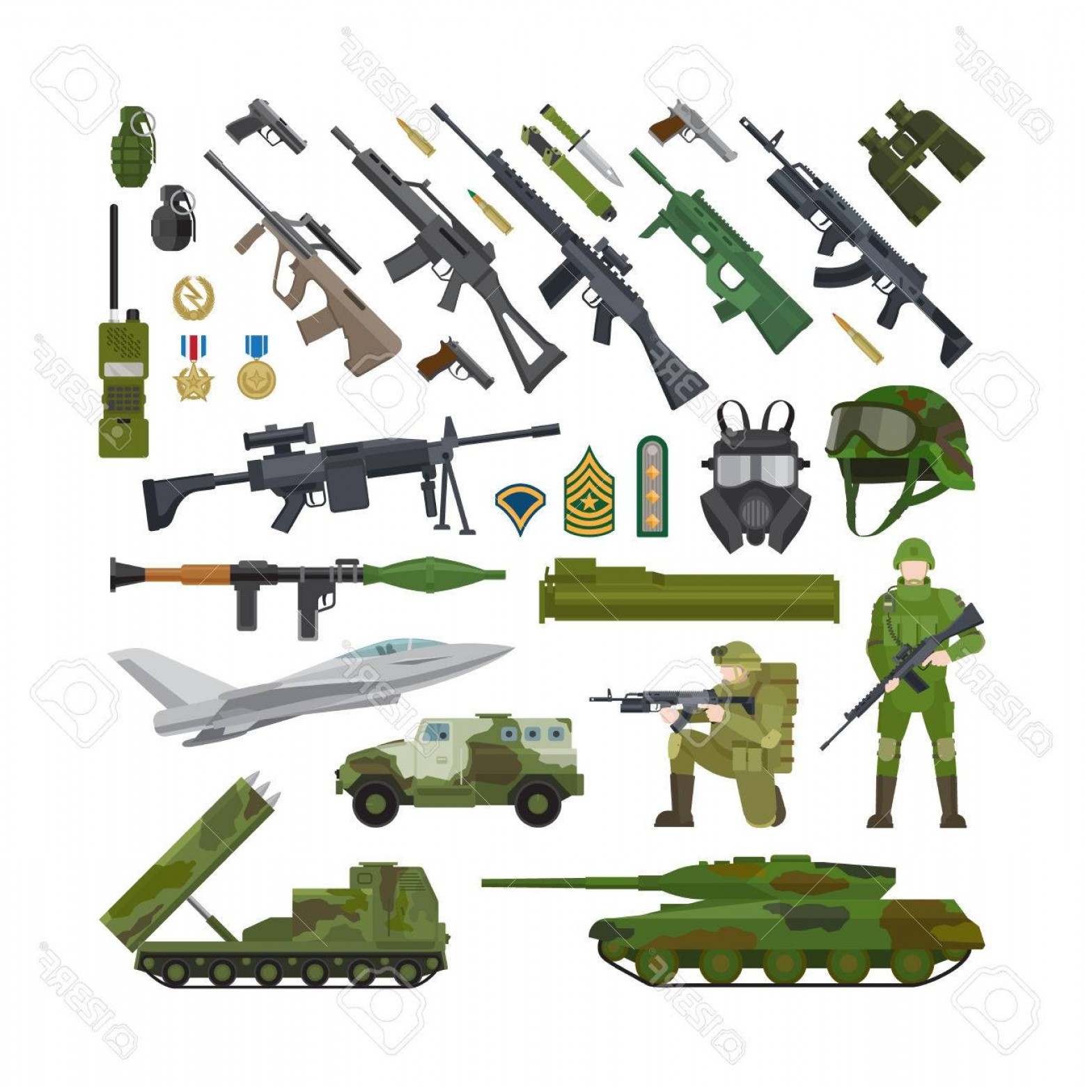 Nato Assault Rifles Vector Graphics: Photostock Vector Military Army Usa And Nato Flat Icons Ammunition And Weapons Helmet And Rifle Tank And Military Plan
