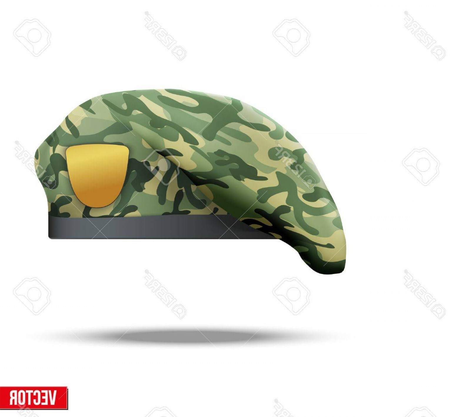 Vector Special Forces Helmet: Photostock Vector Military Beret With Camouflage Texture Of Army Special Forces Vector Illustration Isolated On White