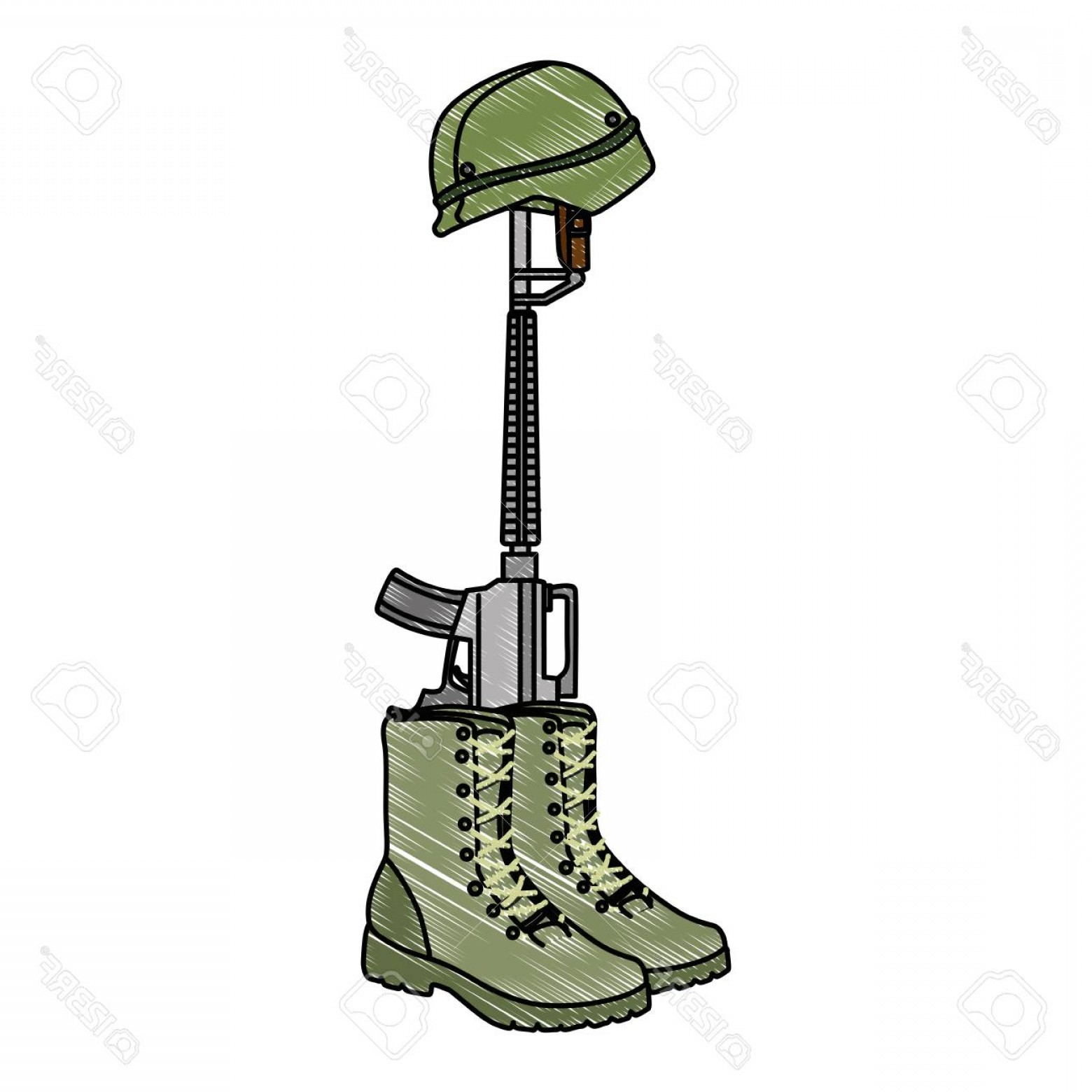 Vector Rifle And Boots: Photostock Vector Military Boots With Rifle And Helmet Vector Illustration Design