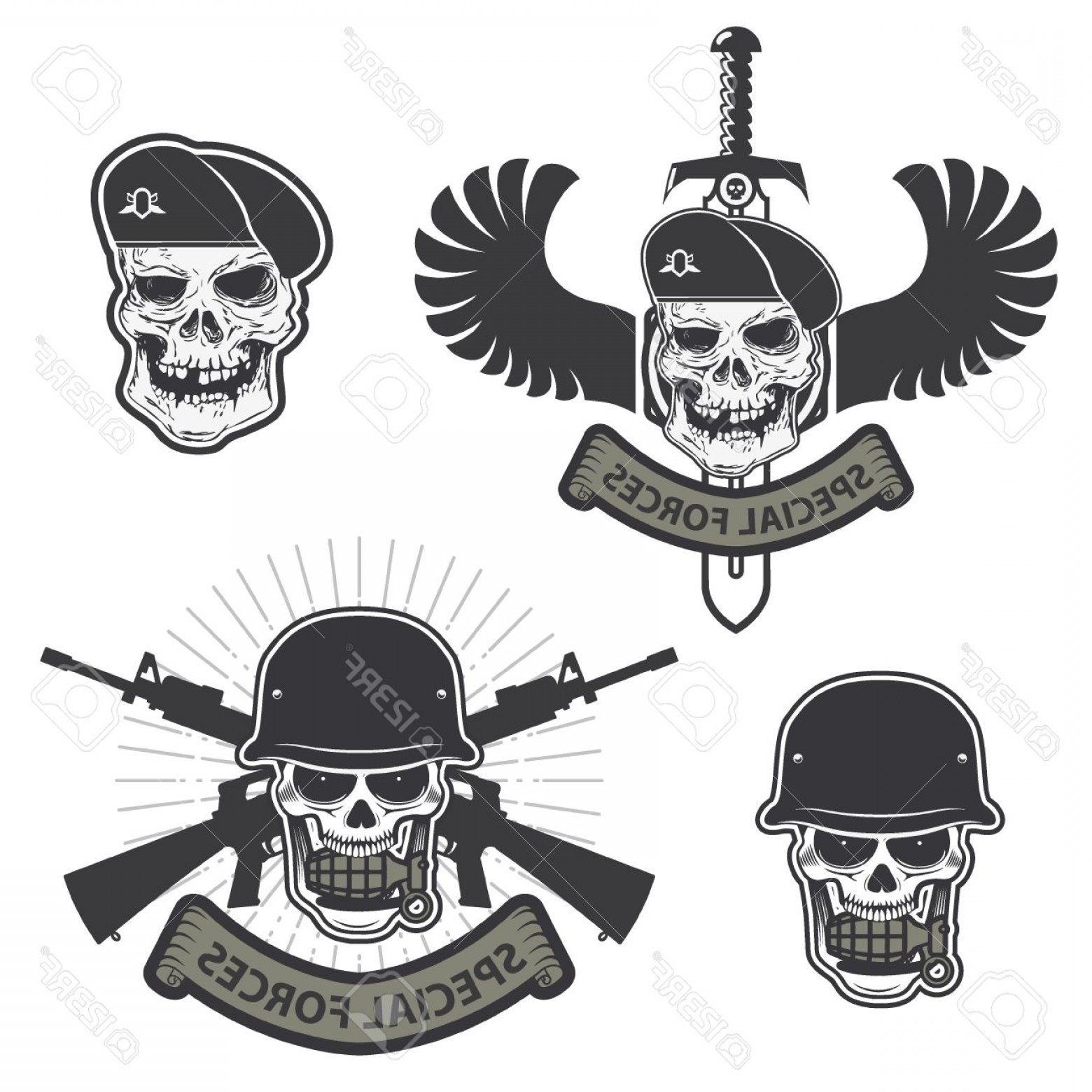 Vector Special Forces Helmet: Photostock Vector Military Emblem Human Skull In A Helmet With A Grenade In His Mouth Special Forses Labels Set