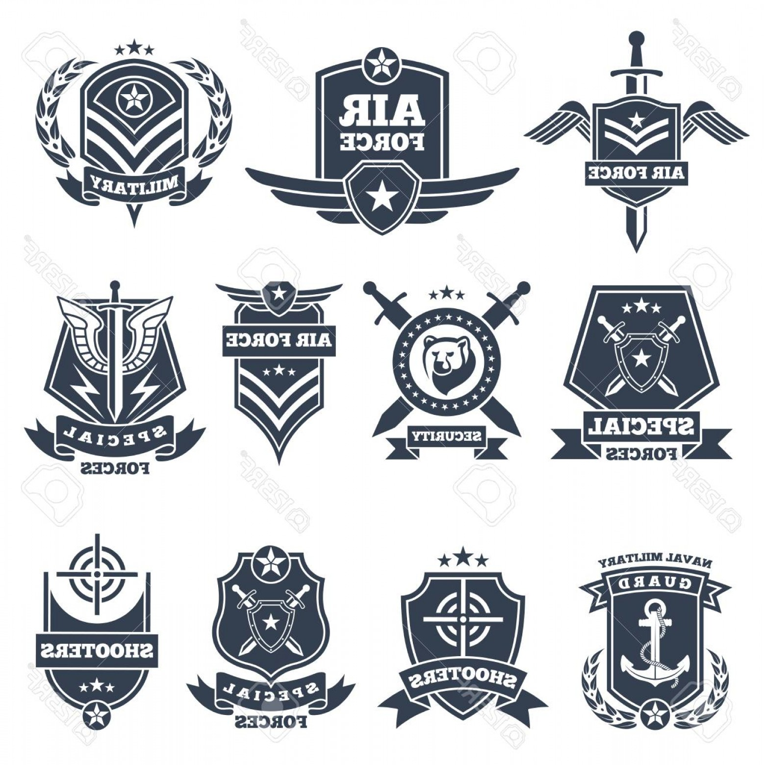 Us Special Forces Vector Files: Photostock Vector Military Logos And Badges Army Symbols Isolated On White Background Military Badge Special Force Avi