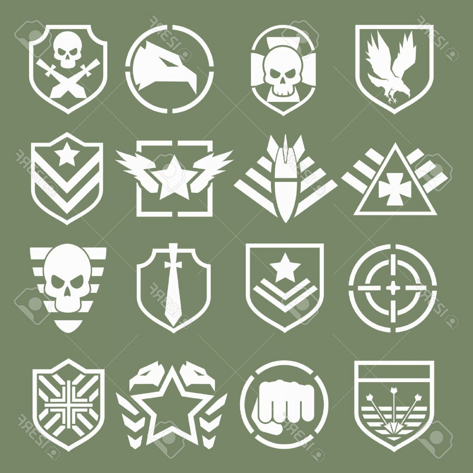 Us Special Forces Vector Files: Photostock Vector Military Logos Of Special Forces Set Army Shield Wing And Skull Vector Illustration