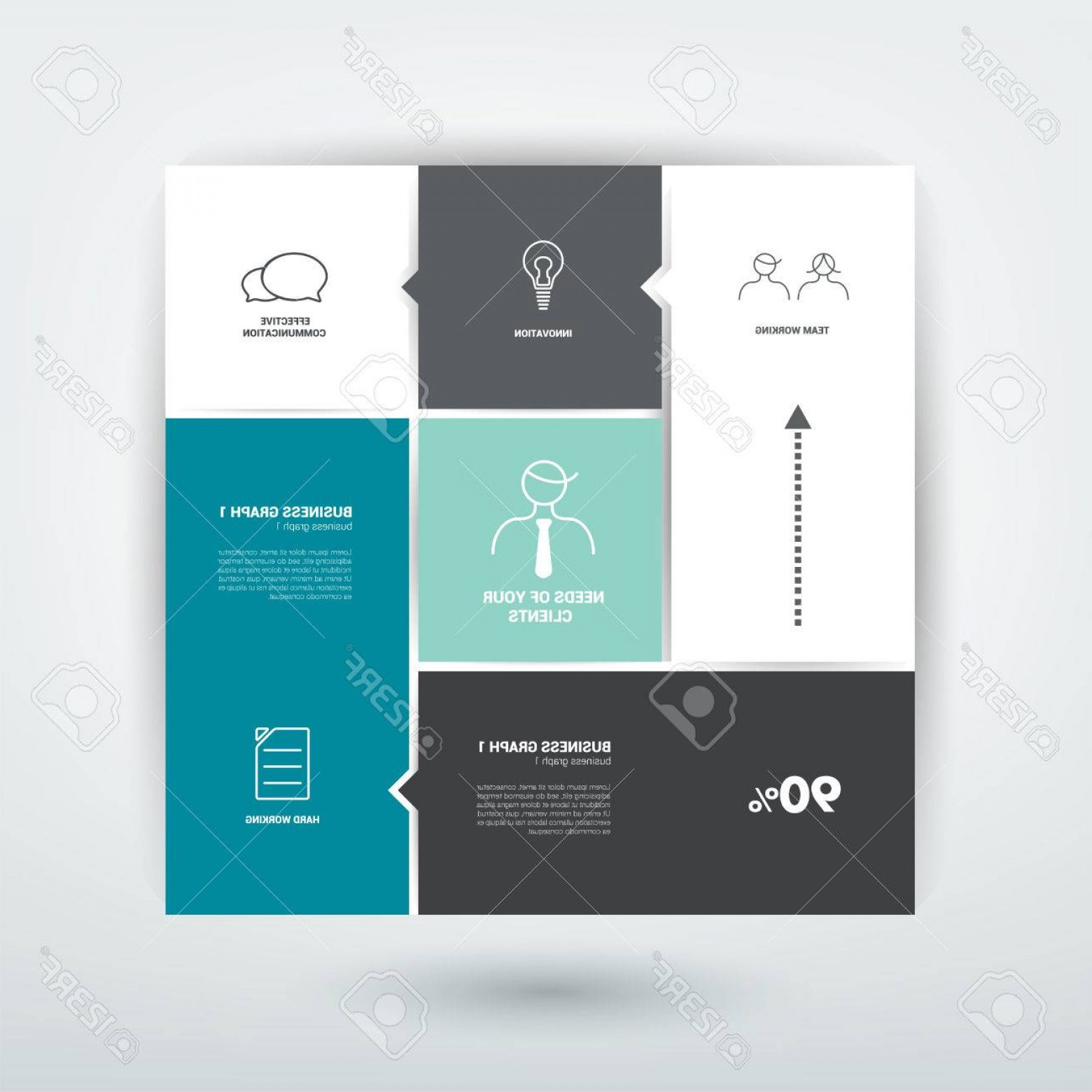 Folder Tab Vectors: Photostock Vector Minimalistic Flat Tab Diagram Scheme For Infographics Simply Editable Futuristic Design With Icons
