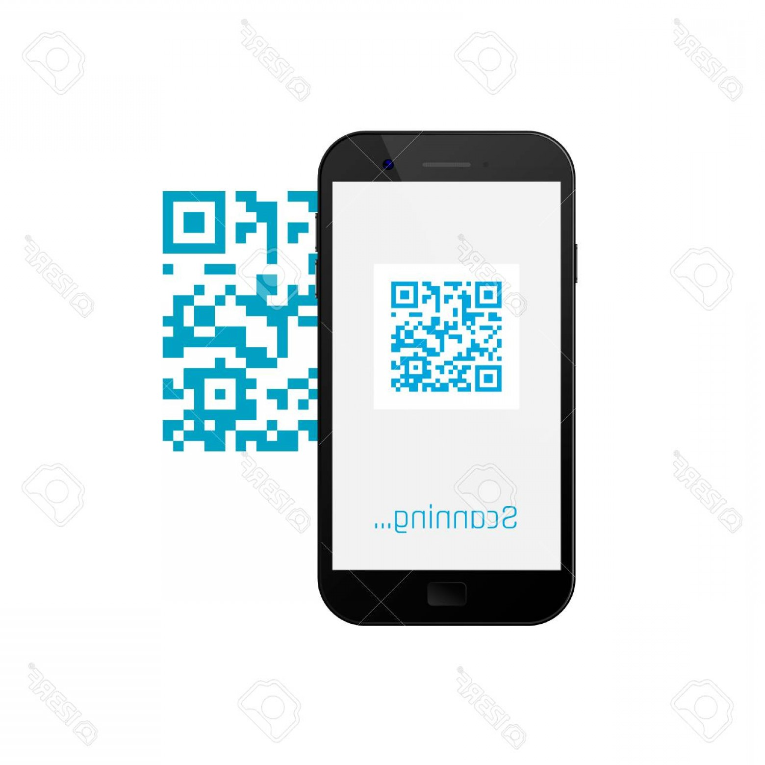 QR Mobile Phone Vector: Photostock Vector Mobile Phone Scanning Qr Code