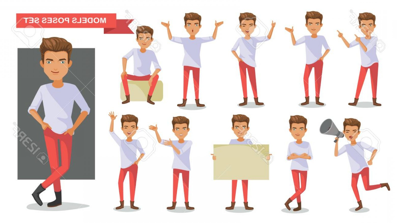 Vector Model Poses: Photostock Vector Model Man Set Of Male Guy In Casual Clothes In Different Poses Handsome Cartoon Character Collection