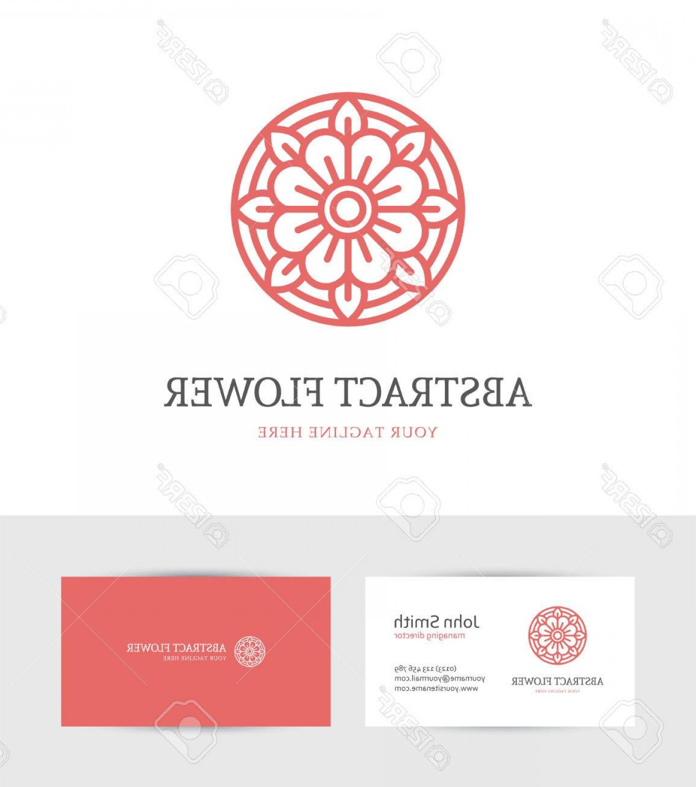 Modern Flower Logo Vector: Photostock Vector Modern Abstract Linear Red Flower Logo And Business Card Design Template For Beauty Salon Spa Or Cos
