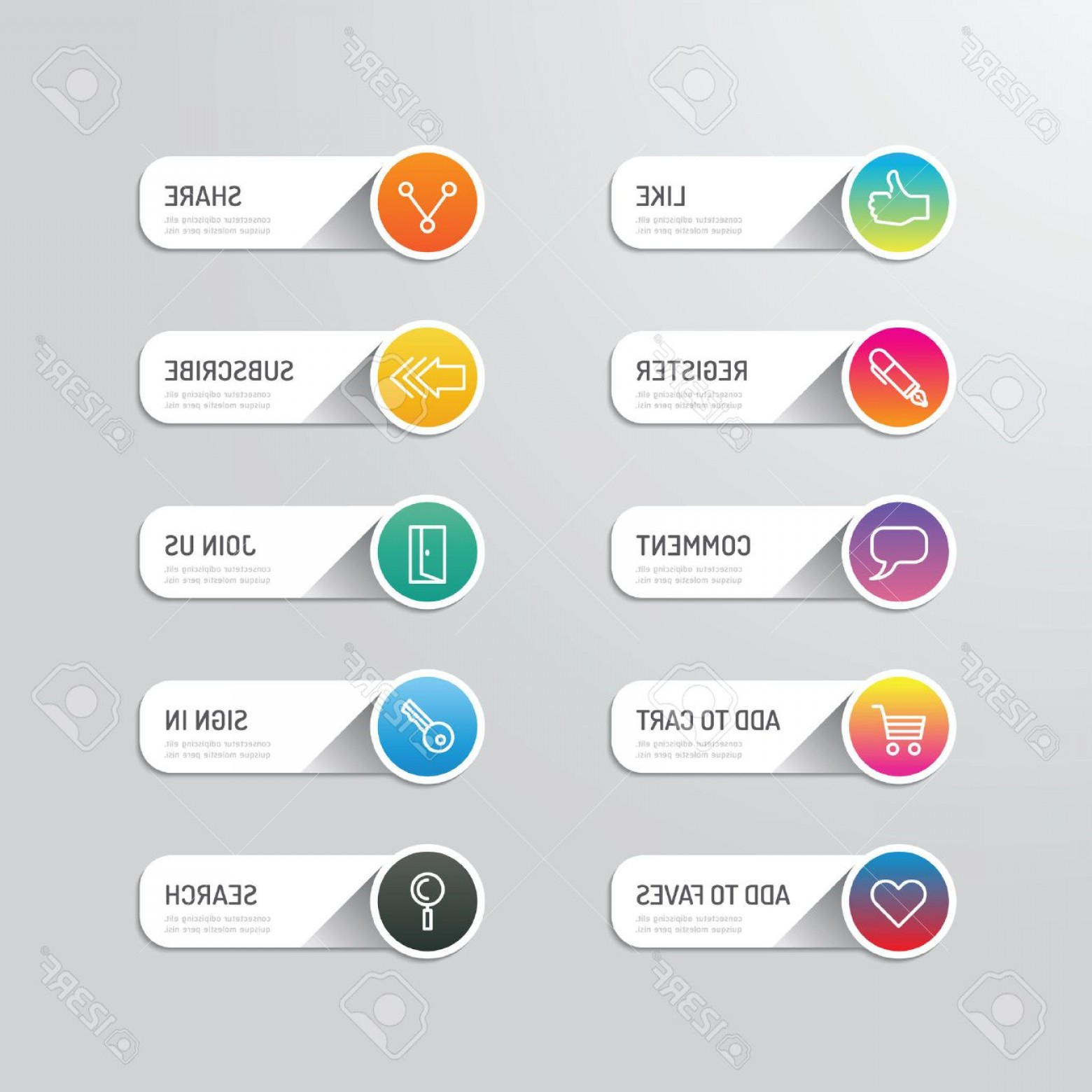 Button Icon Vector: Photostock Vector Modern Banner Button With Social Icon Design Options Vector Illustration Can Be Used For Infographic