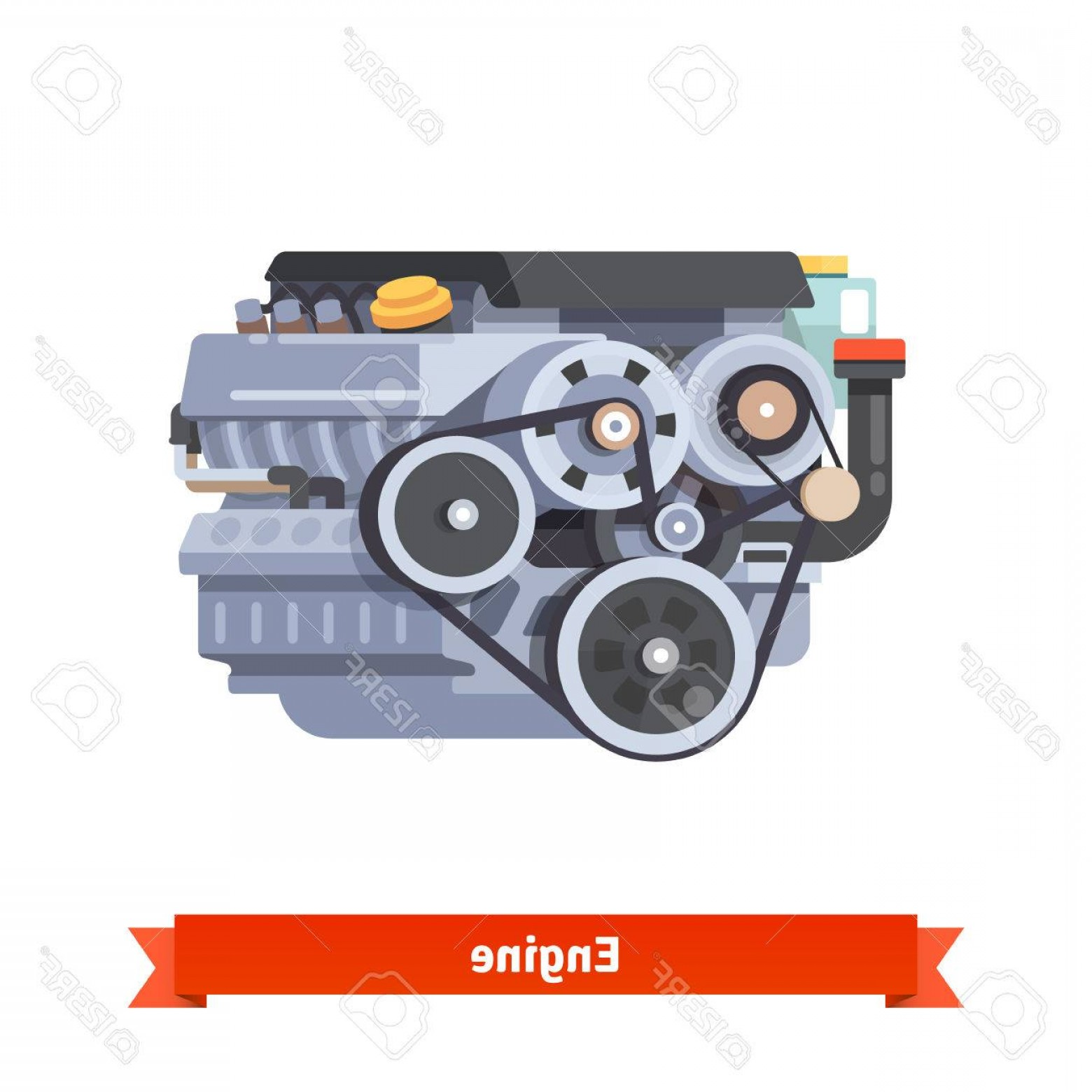 Combustible Engine Vector: Photostock Vector Modern Car Internal Combustion Engine Complete Overhaul Repair Flat Style D Vector Illustration Iso