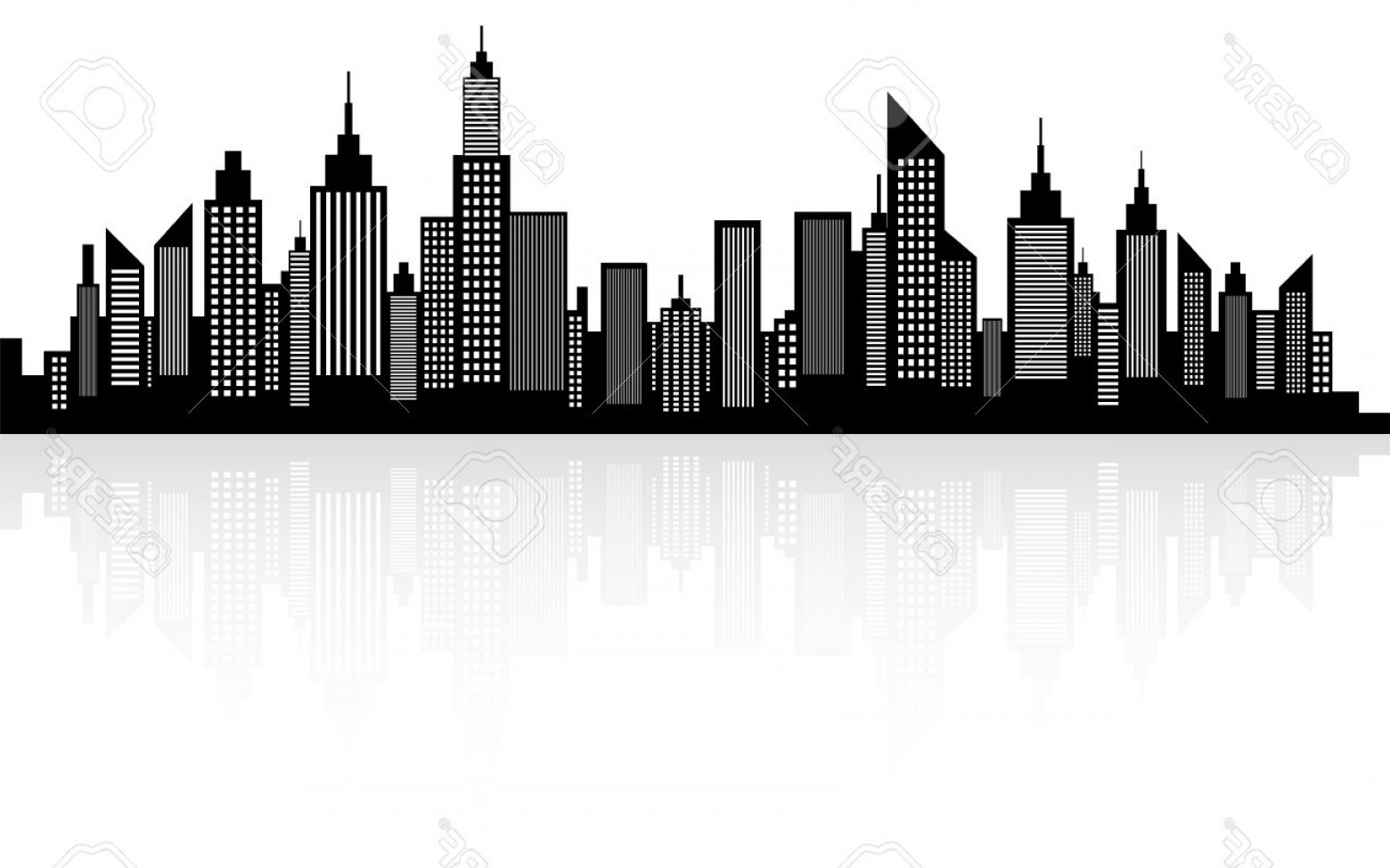 City Vector: Photostock Vector Modern City Skyscrapers Skyline Silhouette