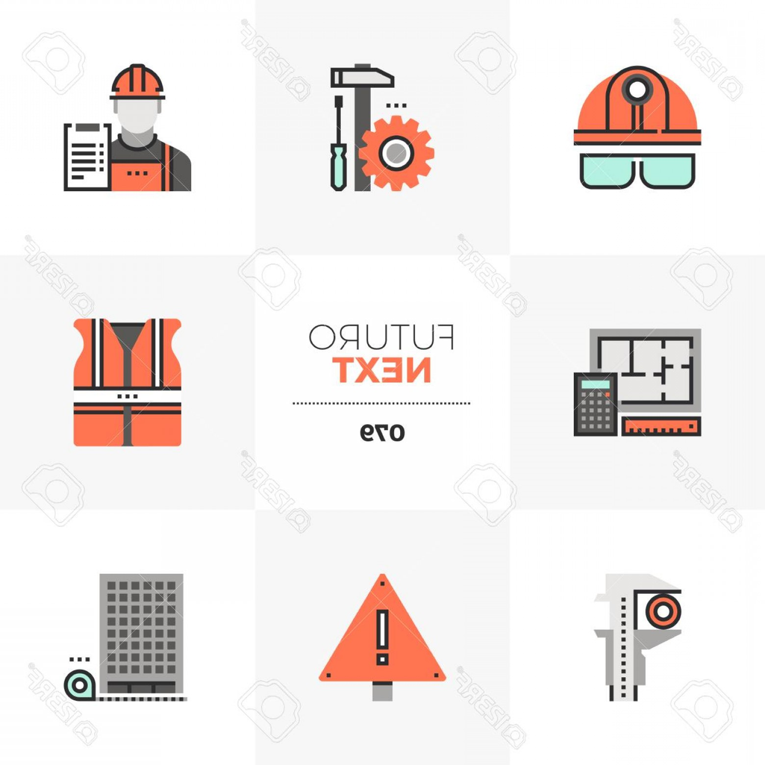 Vector Graphic Of Civil Engineering: Photostock Vector Modern Flat Icons Set Of Civil Engineering Construction Site Safety Unique Color Flat Graphics Eleme
