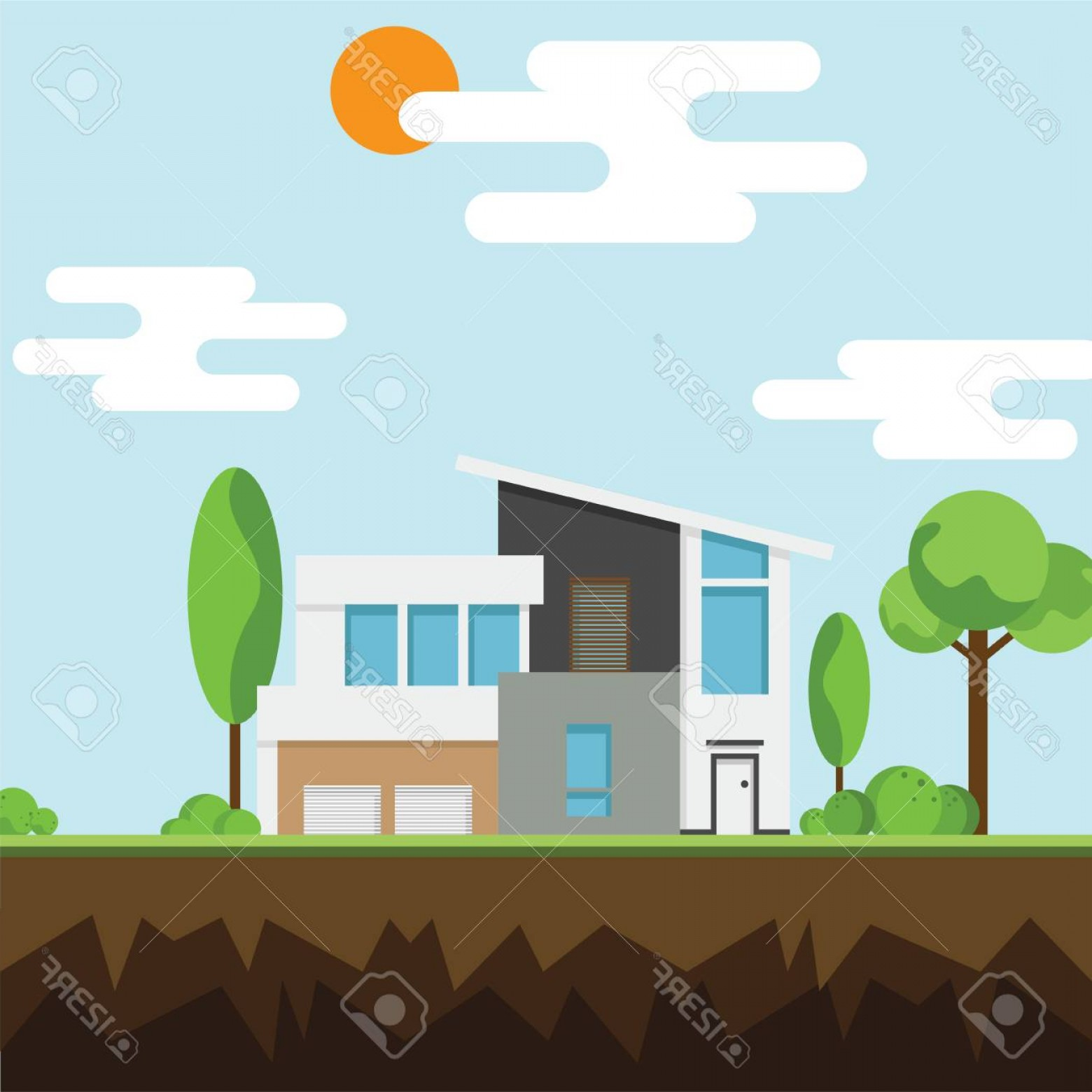 Vector Modern Tree House: Photostock Vector Modern House With Trees Icon