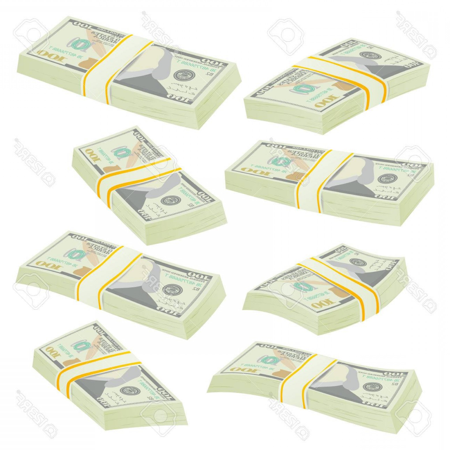 Hundreds Of Money Stacks Vector: Photostock Vector Money Stacks Vector Realistic Concept D Dollar Banknotes Cash Symbol Money Bill Isolated Illustrati