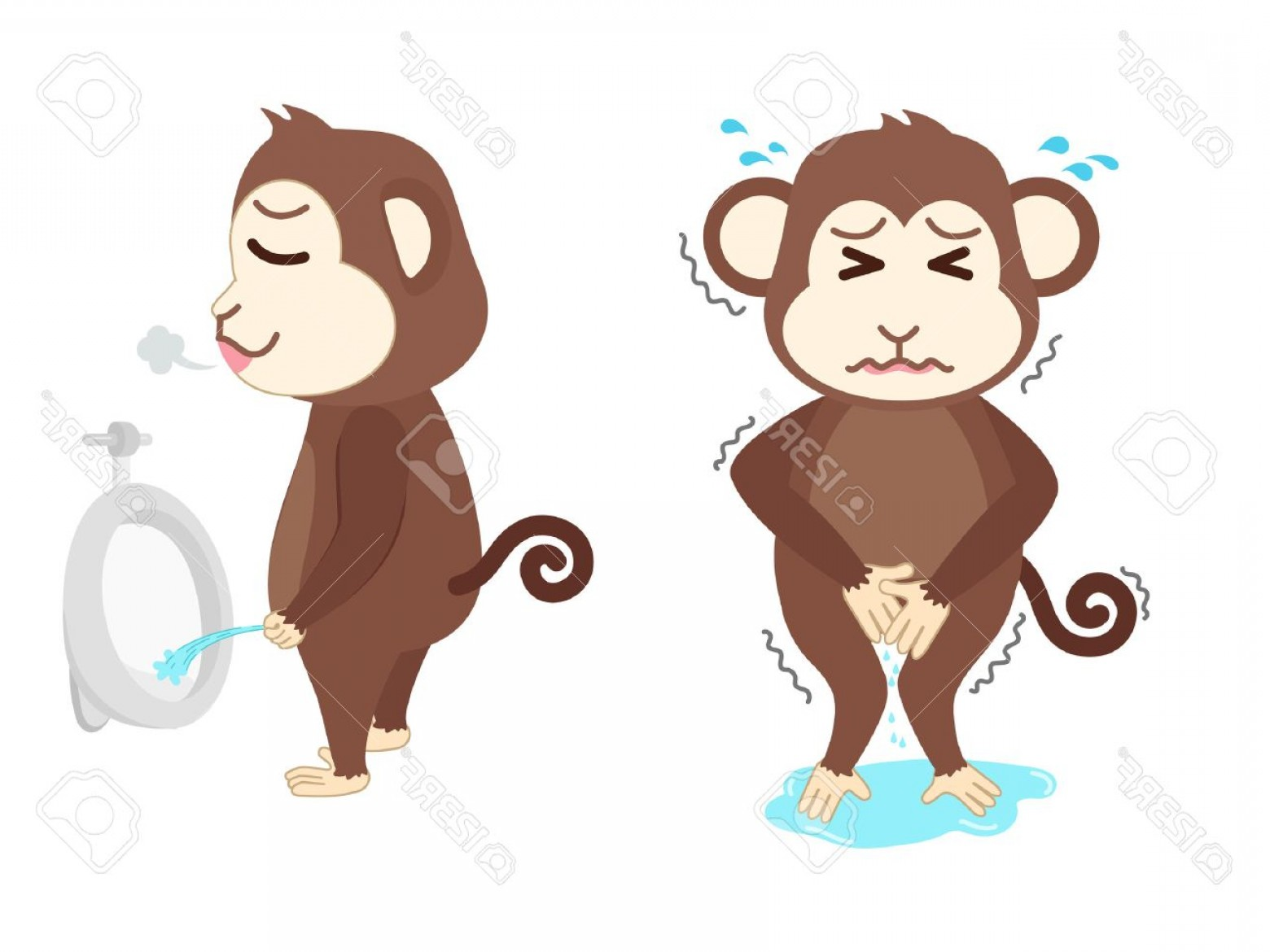Pee On Clip Art Vector Graphic: Photostock Vector Monkey Need A Pee And Standing Peeing